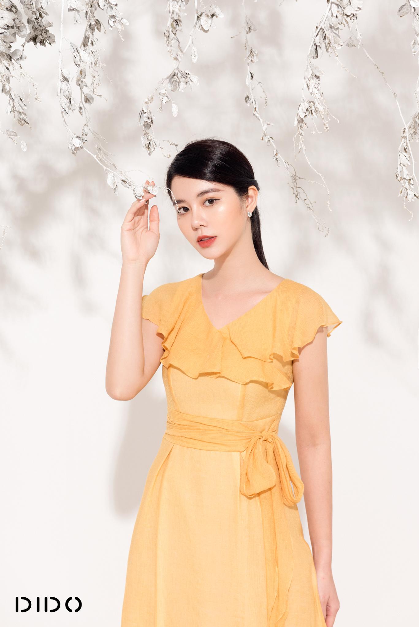 Váy Rúm Eo Vàng - Nữ