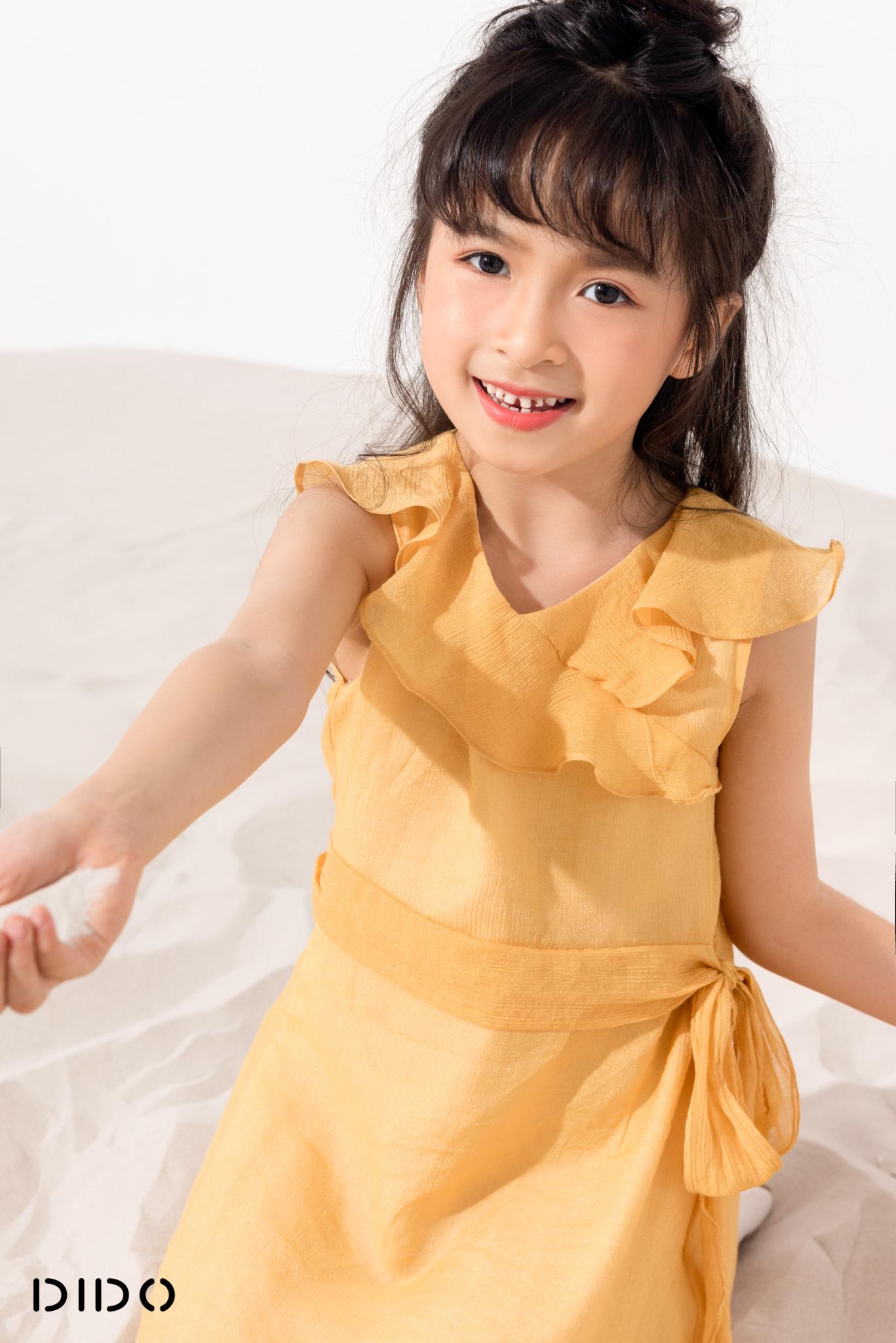 Váy Rúm Eo Vàng - Bé Gái