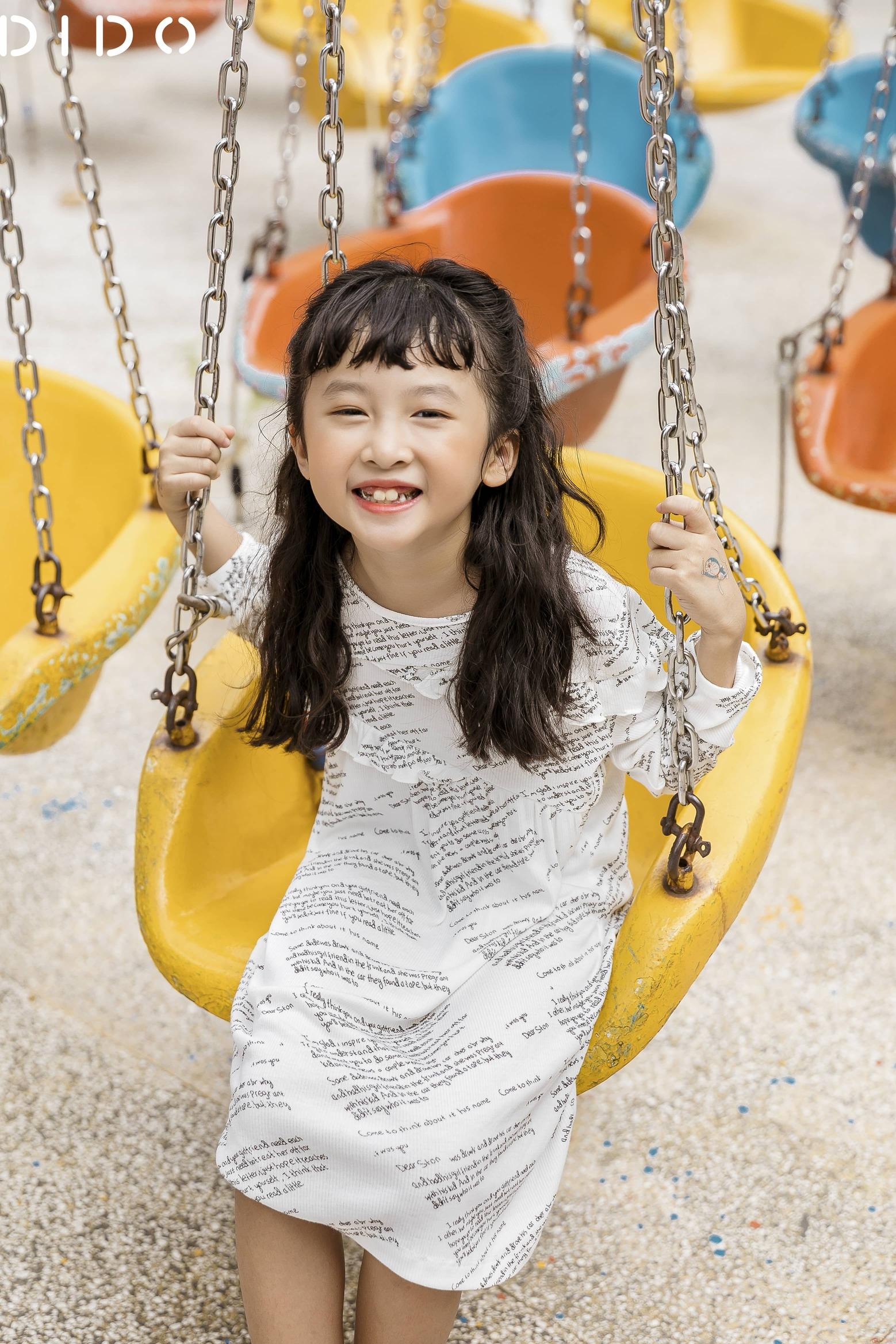 Váy Cotton In Chữ Chun Eo - Bé Gái