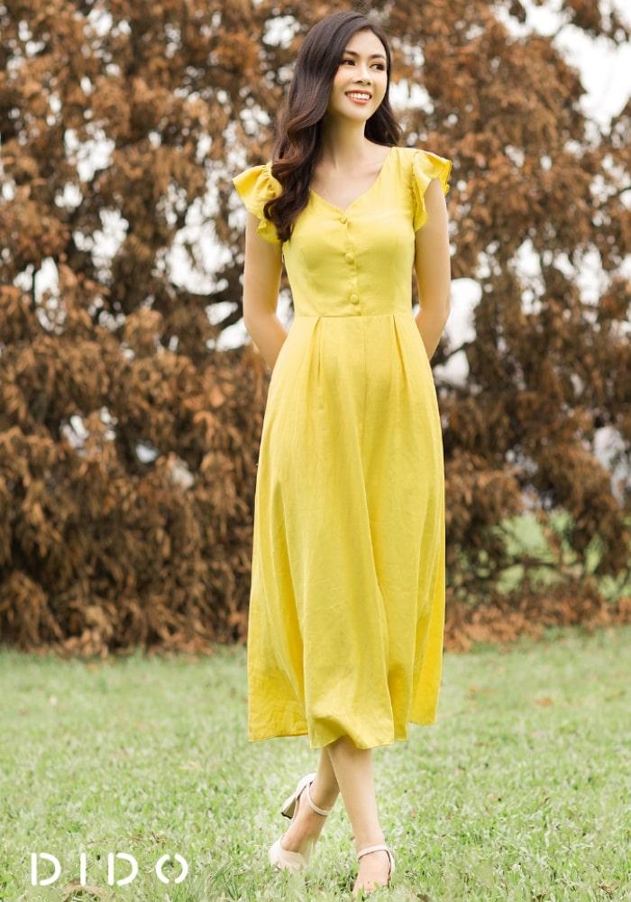 Váy Đũi Vàng Cúc Bọc Ngực - Nữ