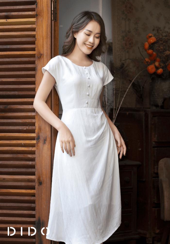 Váy Đũi Xếp Ly Cúc Bọc Nữ