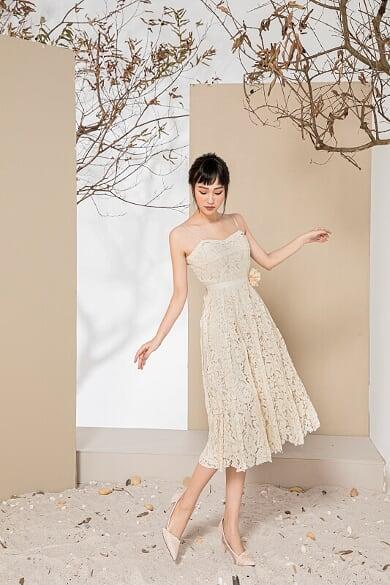 Đầm Ren 2 Dây Kèm Áo Khoác - Nữ