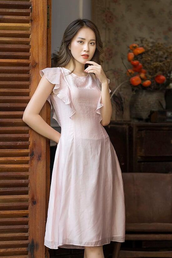 Váy Hồng Tơ Bèo Vai - Nữ