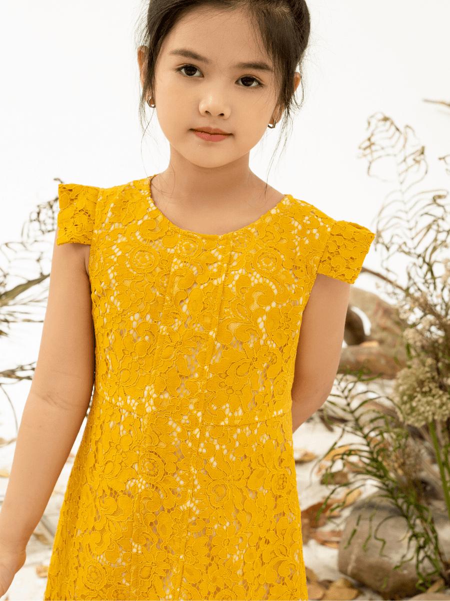 Váy Ren Gân Vuông Bé Gái