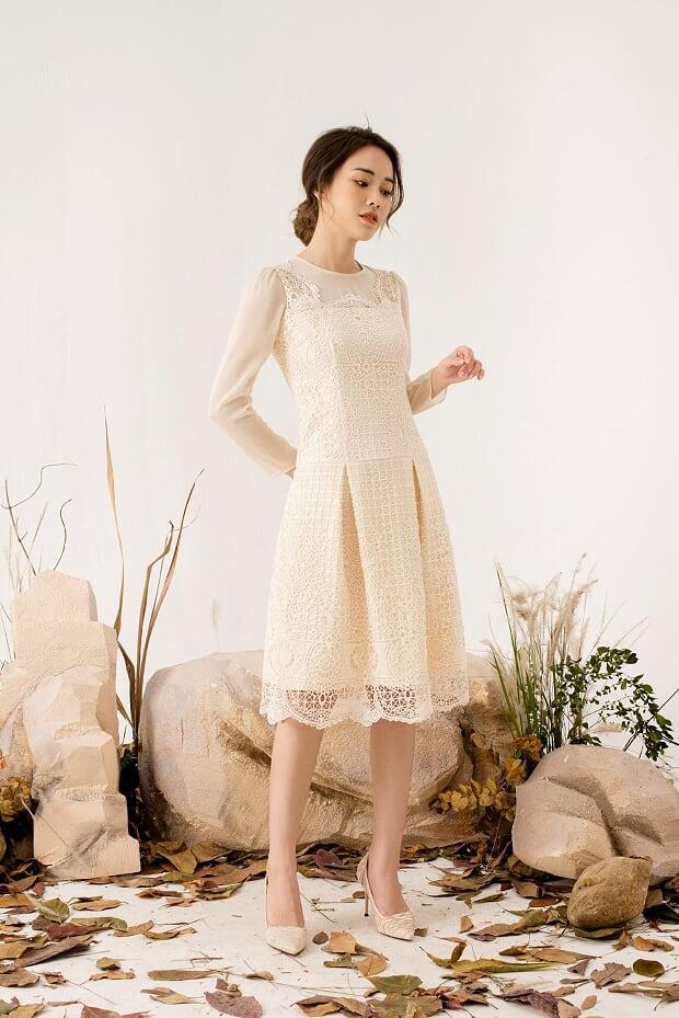 Váy Ren Phối Tơ - Nữ