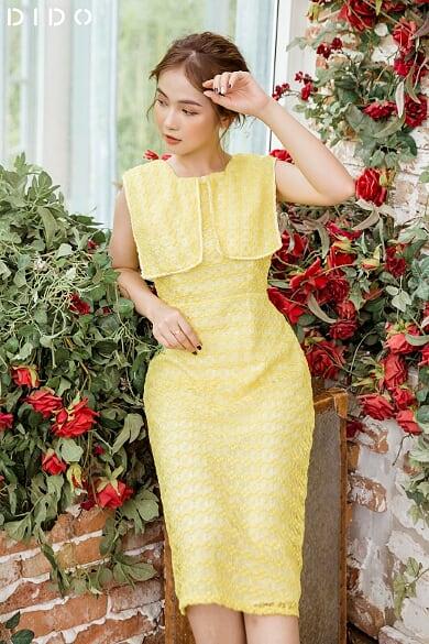 Váy Ren Vàng Cổ Vuông Phối Dây Ren - Nữ