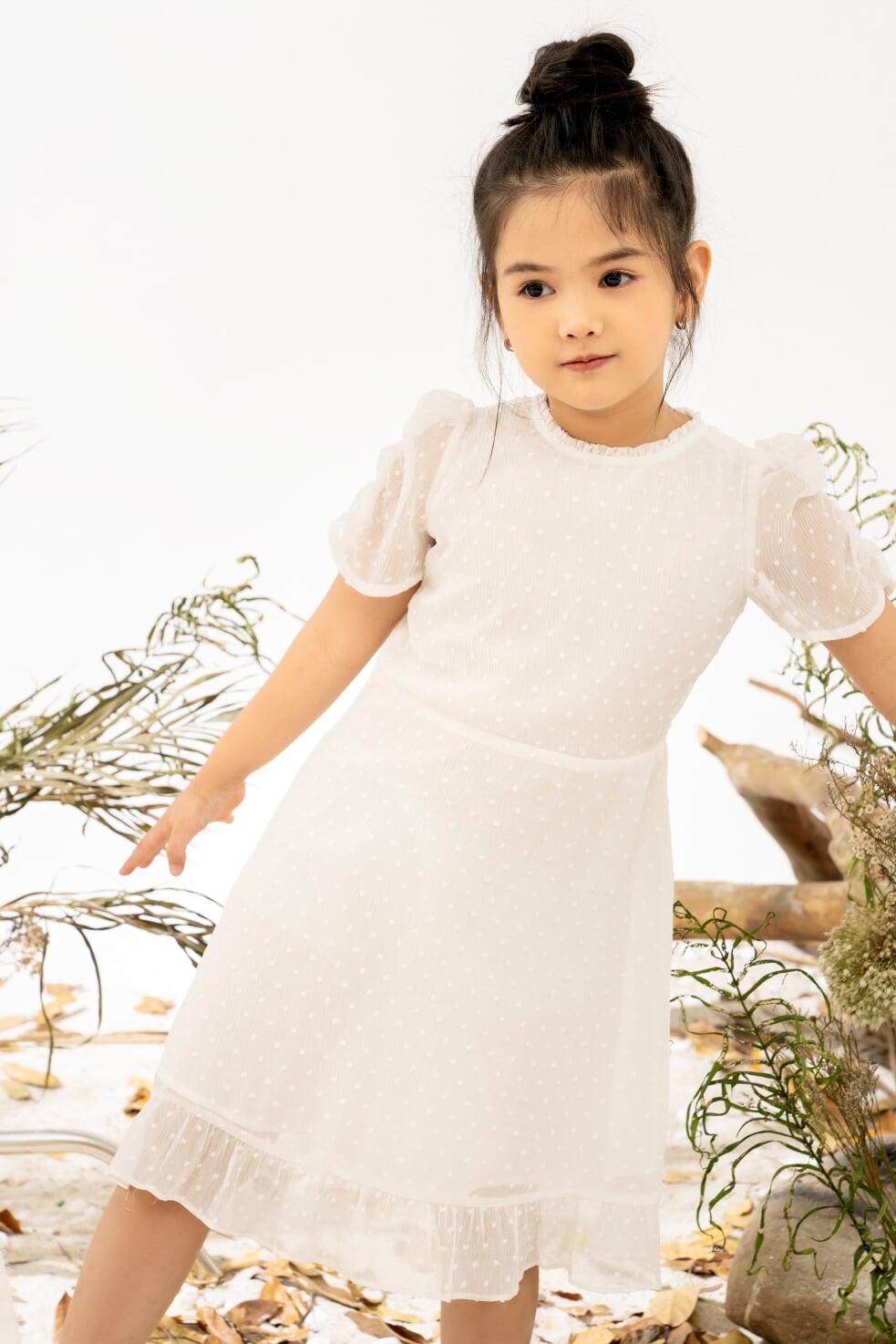 Váy Tơ Tay Nhún Bồng Bé Gái