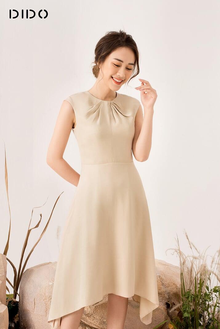 Váy Xòe Xoắn Cổ - Nữ