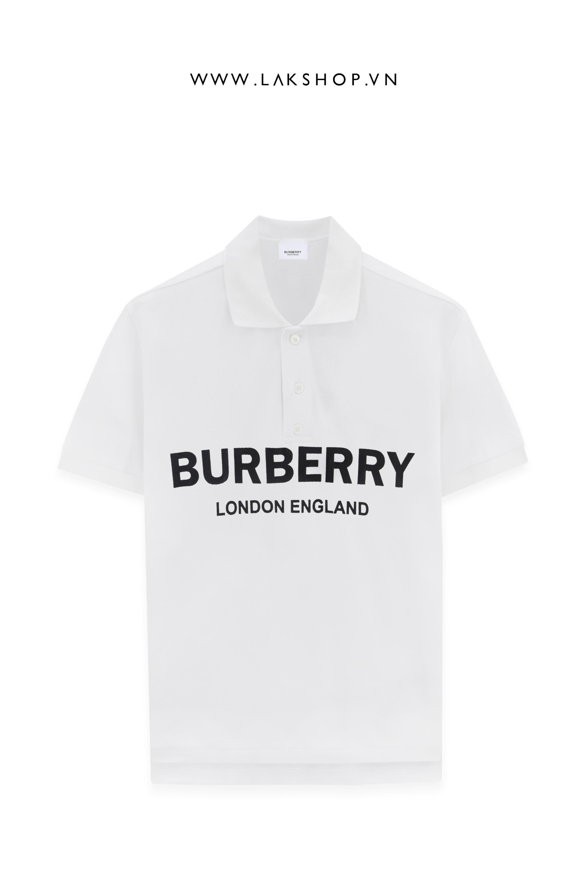 Burberry White Logo Print Pique Polo Shirt