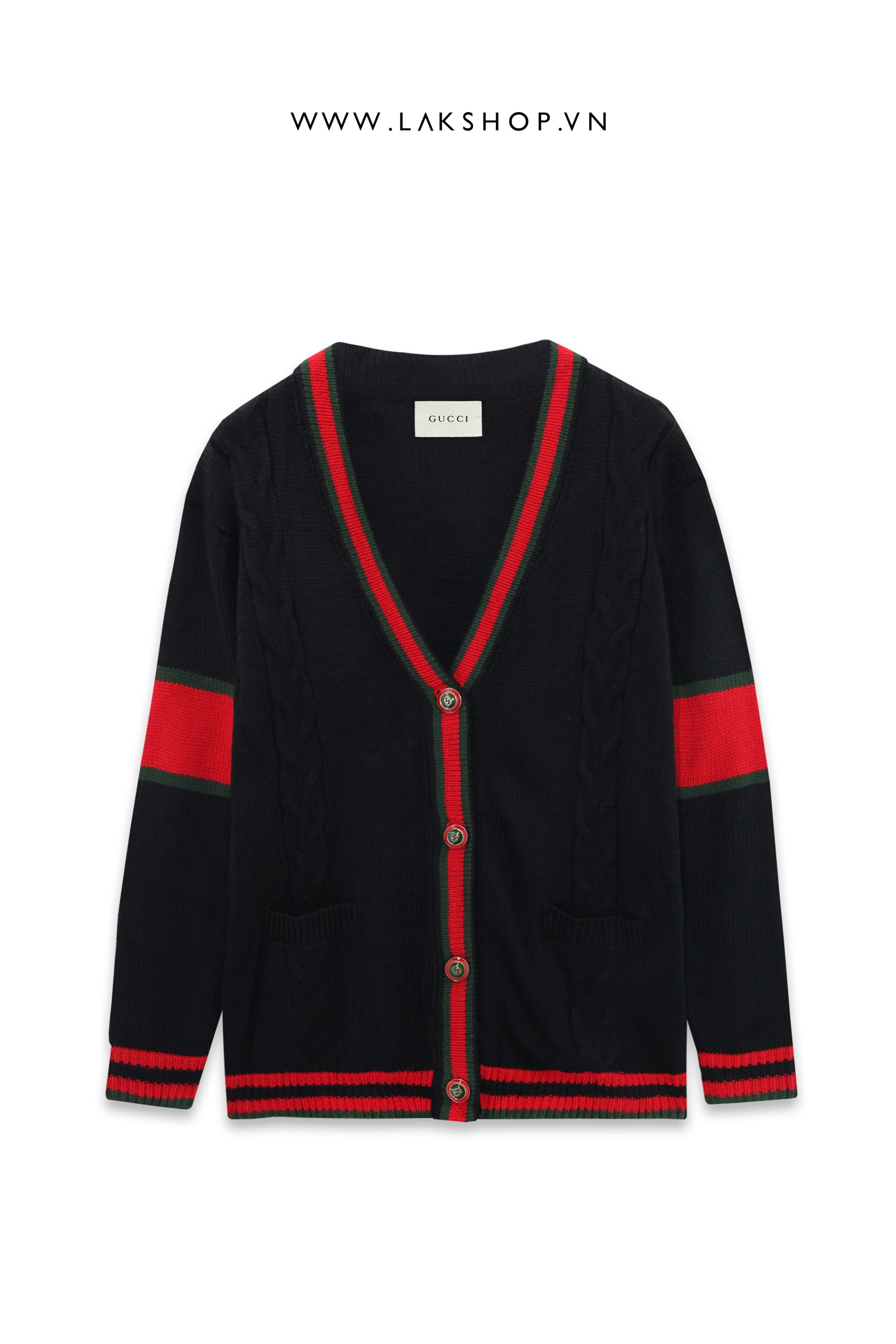 Gucci Oversize Cable Knit Cardigan in Black