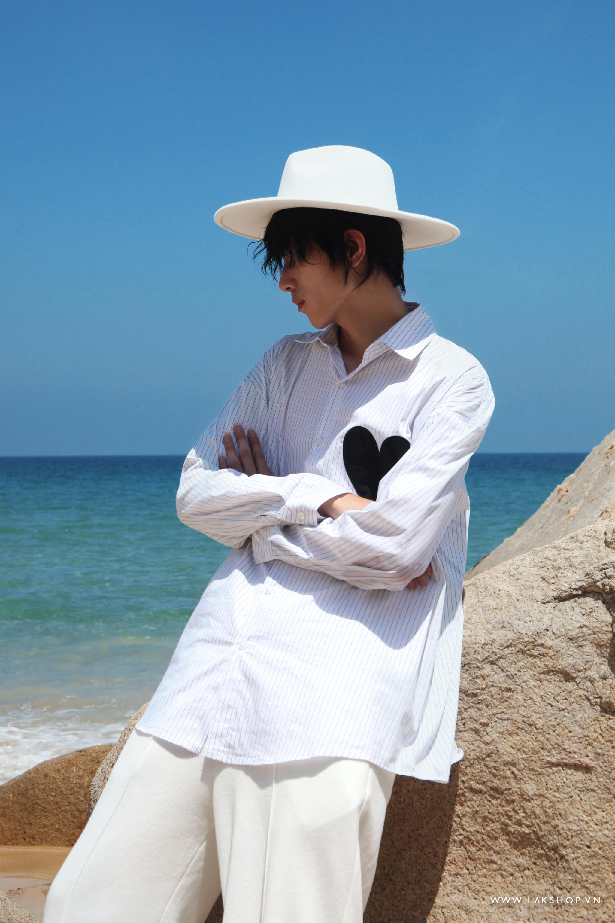 Oversized Stripe Shirt with Heart