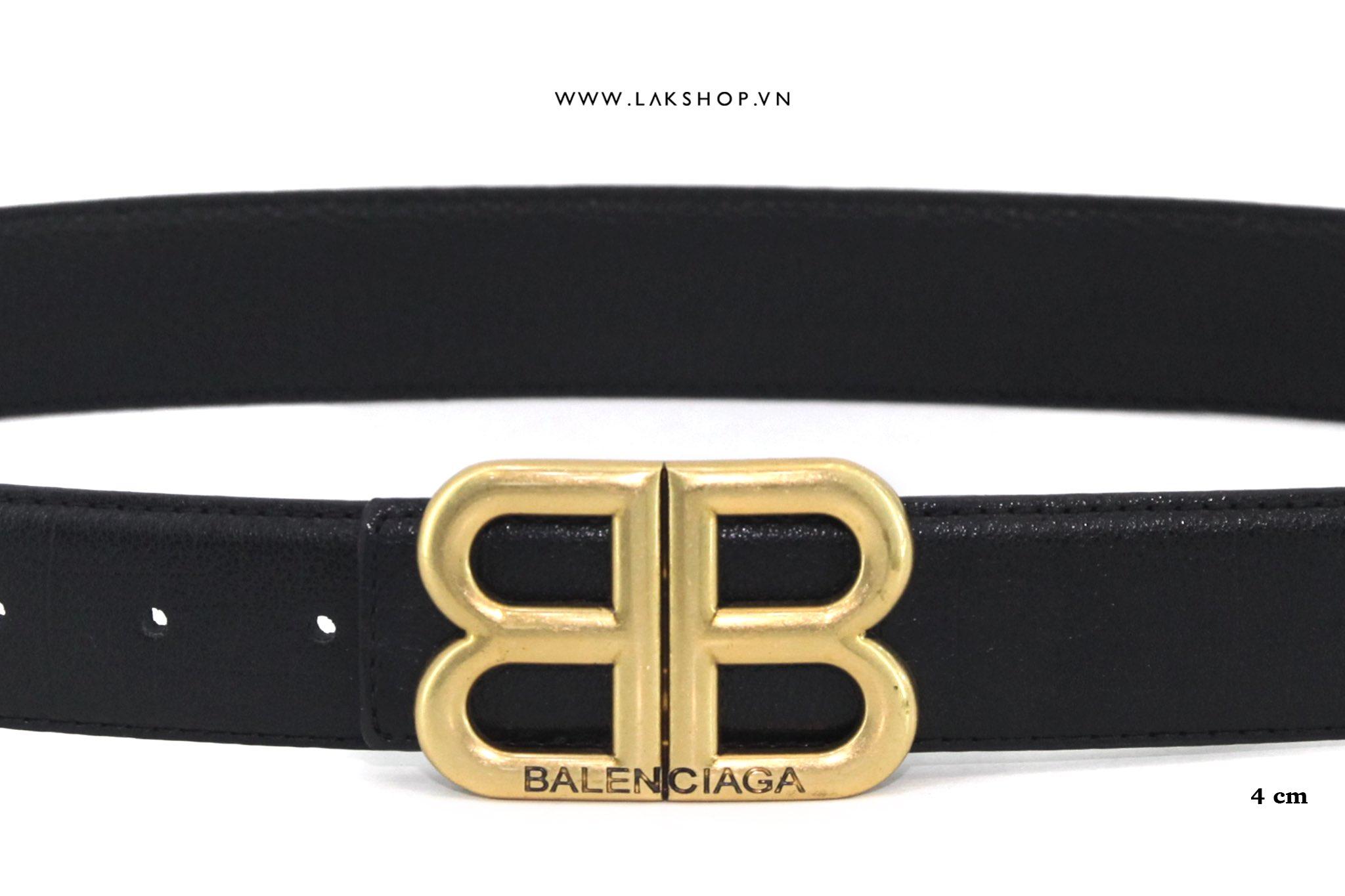 Balenciaga BB Gold Logo Buckle Leather Belt (4cm)