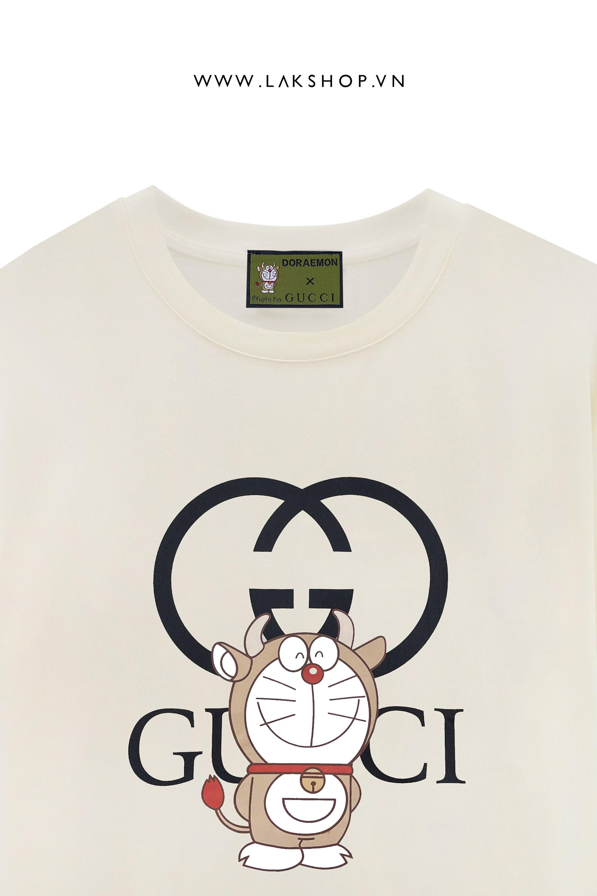Gucci x Disney Doreamon Lock Logo Begie T-shirt