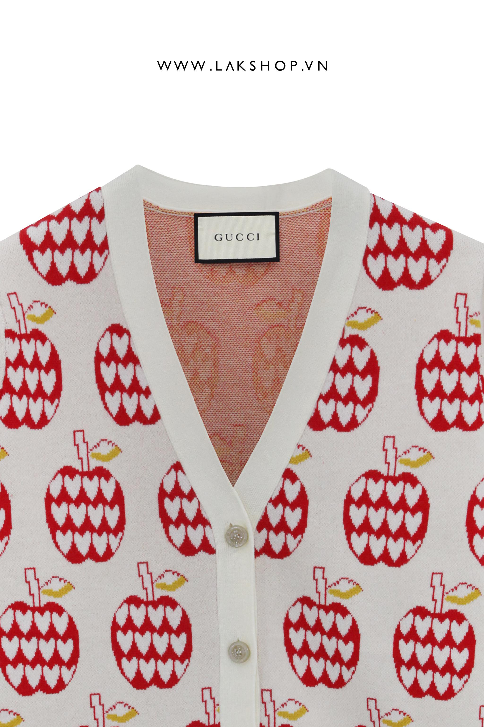 Gucci Les Pommes Sweater Cardigan in Begie and Red