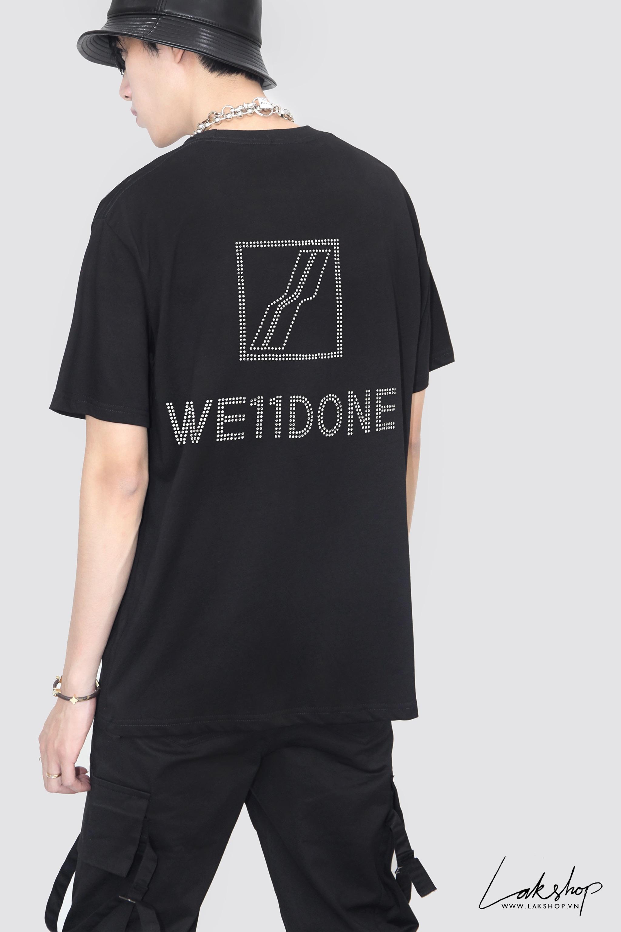 We11done Crystal Back Logo Black T-Shirt