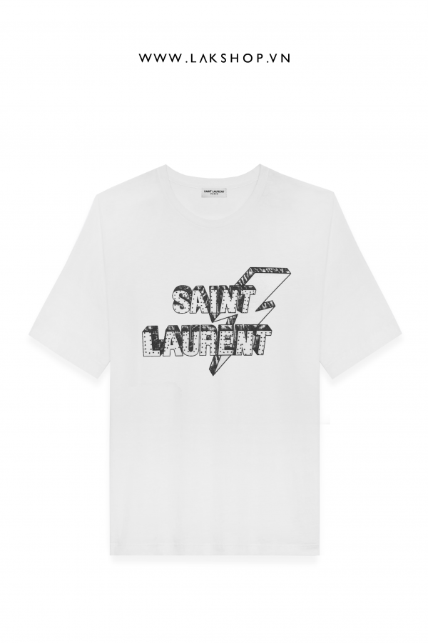 Saint Laurent Lightning Bolt Logo Print White T_shirt