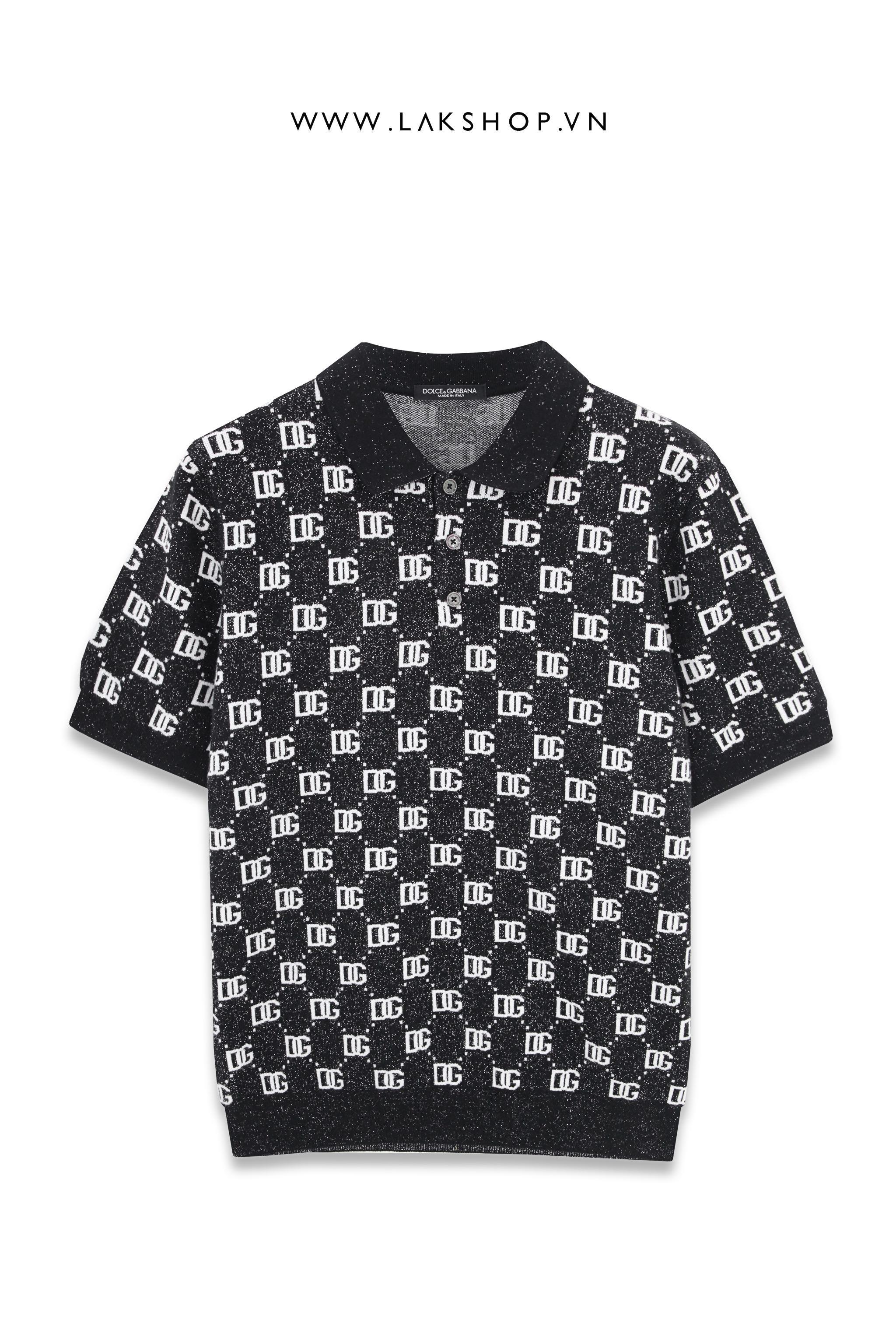 Air Dior Signature Logo Black Polo Shirt