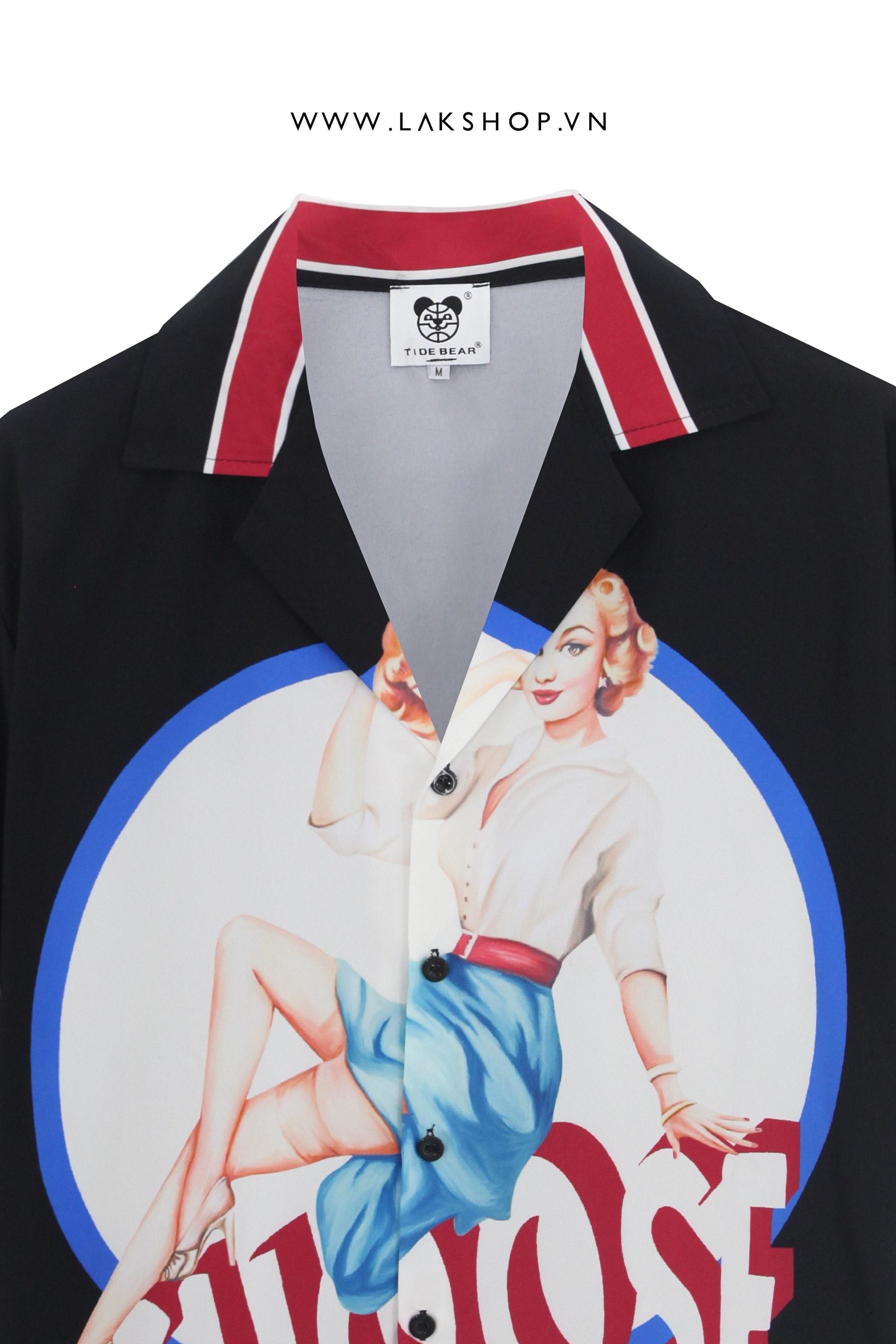 Choose Me Print Black  Short Sleeve Shirt
