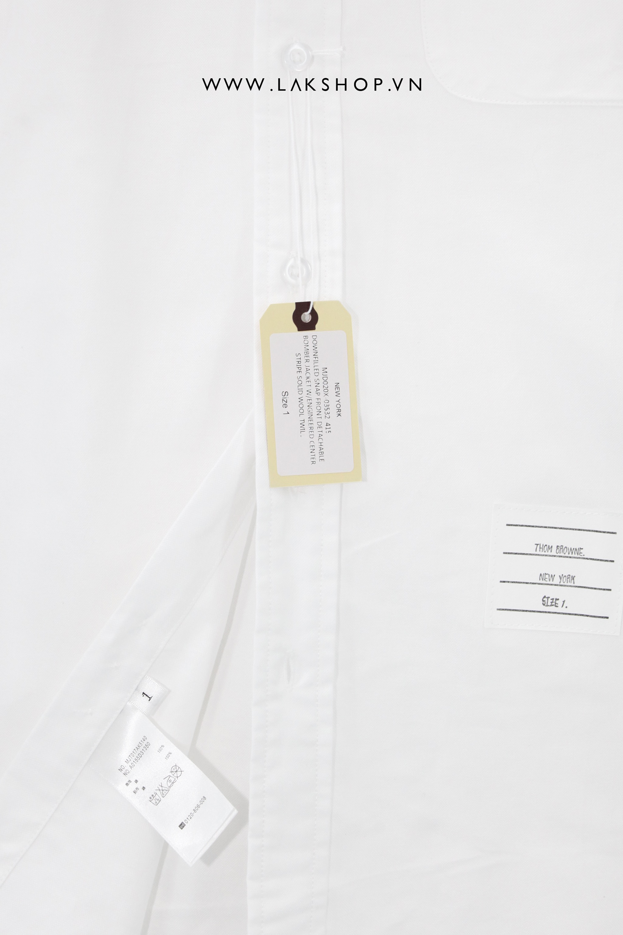 [NEW] Thom Browne White Cotton Oxford Grosgrain Armband Shirt (Bản Đẹp)