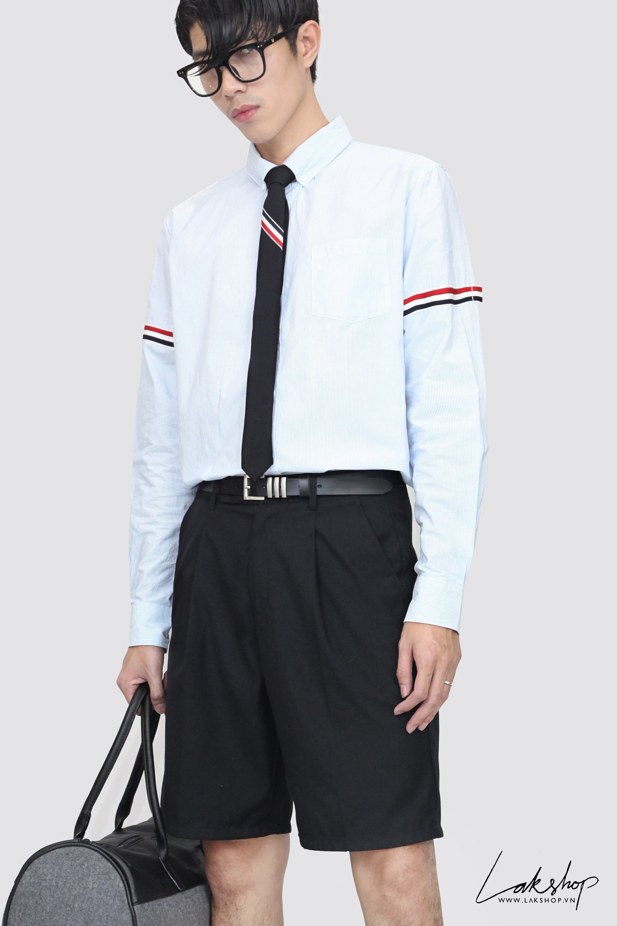 Thom Browne Blue University Stripe Grosgrain Armband Oxford Shirt