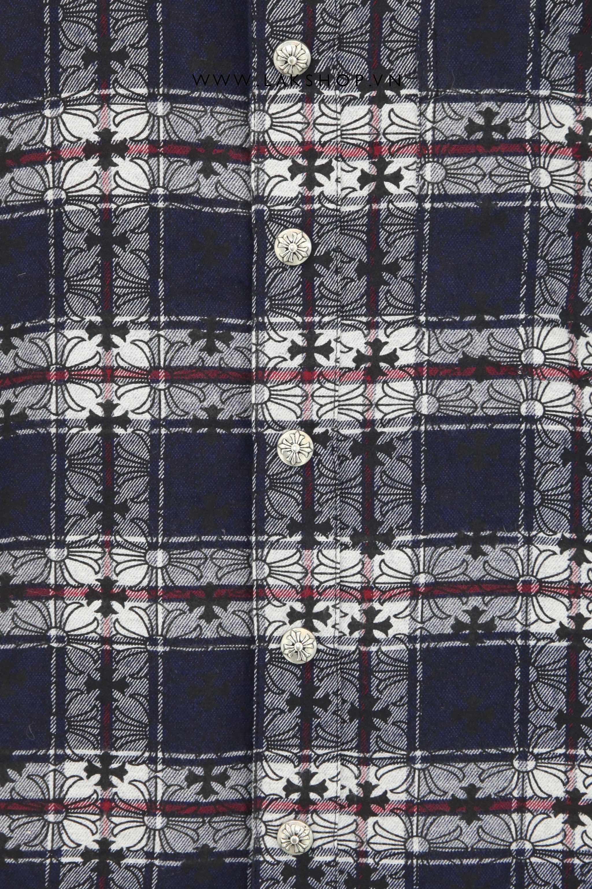 Chrome Hearts Blue Flannel Cross Ball Button Shirt