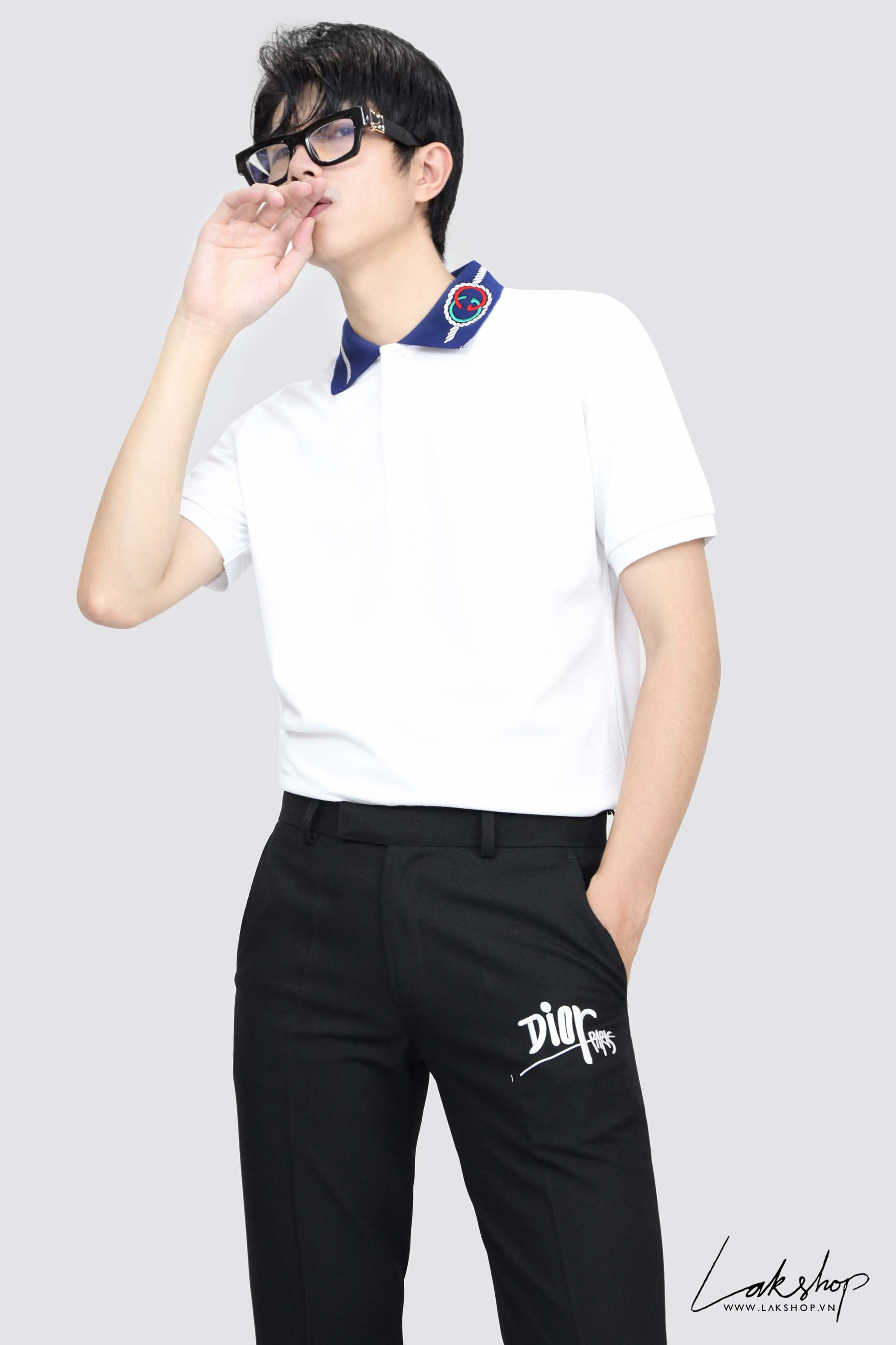 Gucci GG-Embroidered Rope GG Piqué Polo Shirt