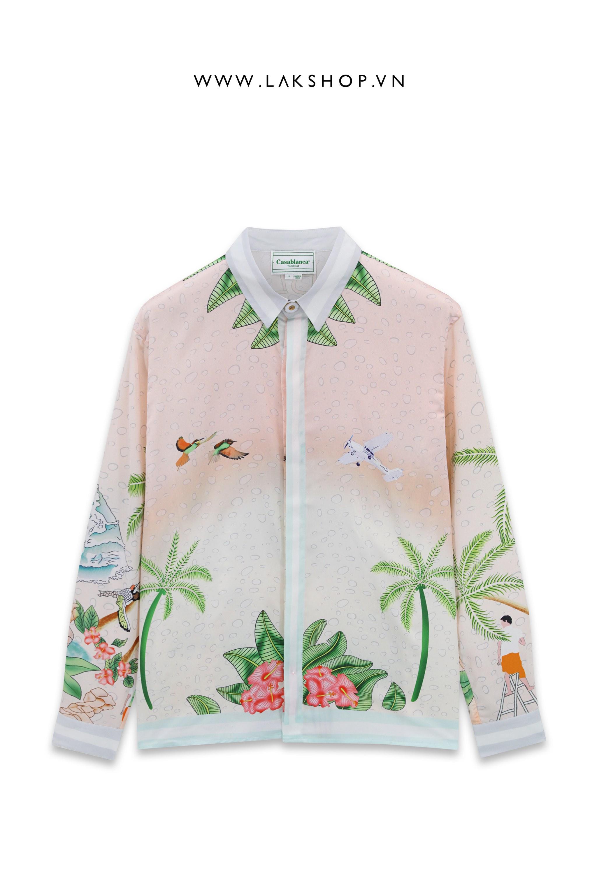 Casablanca Surf Club Long-Sleeve Silk Shirt