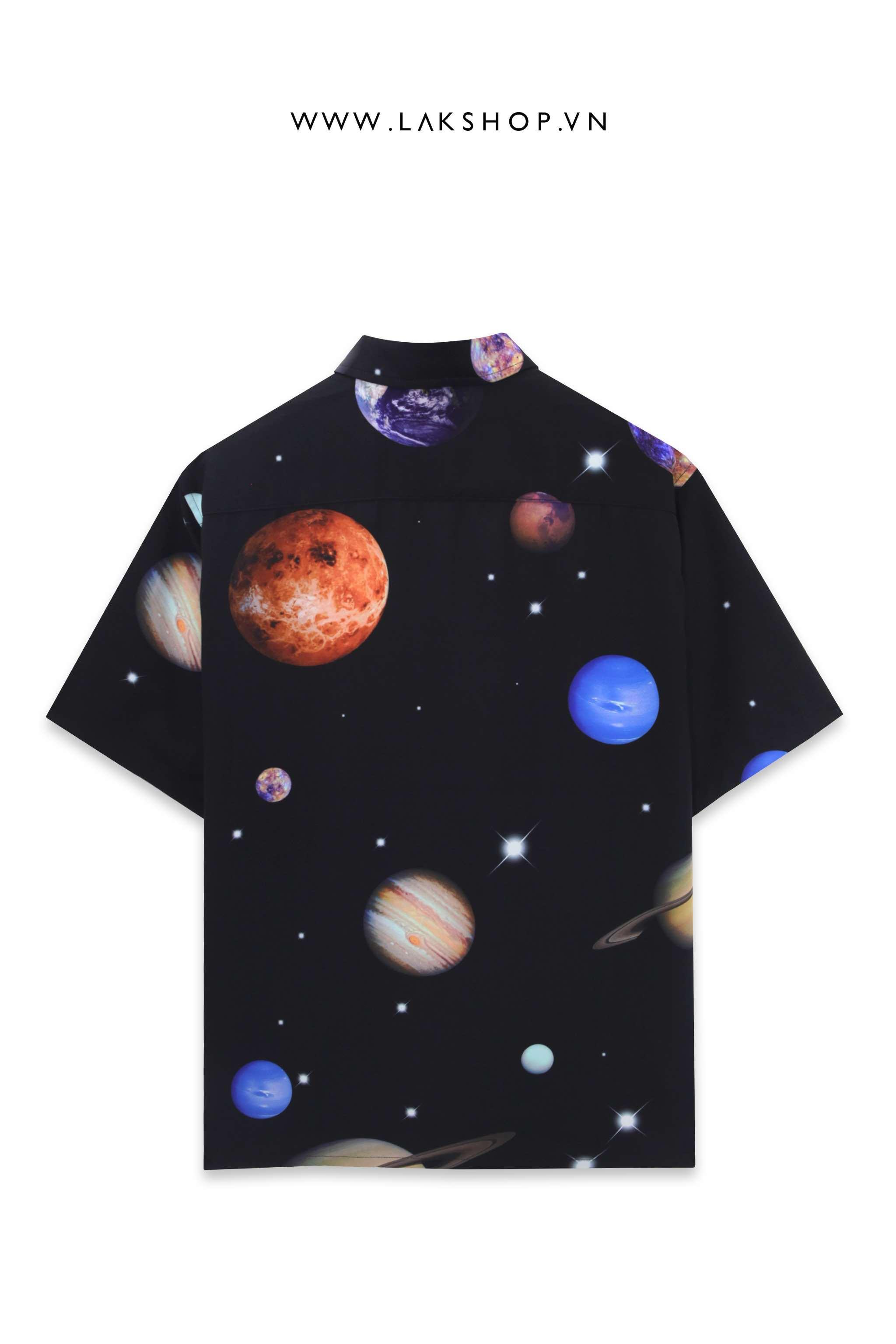 Oversized Galaxy Planet Print Short Sleeve Shirt
