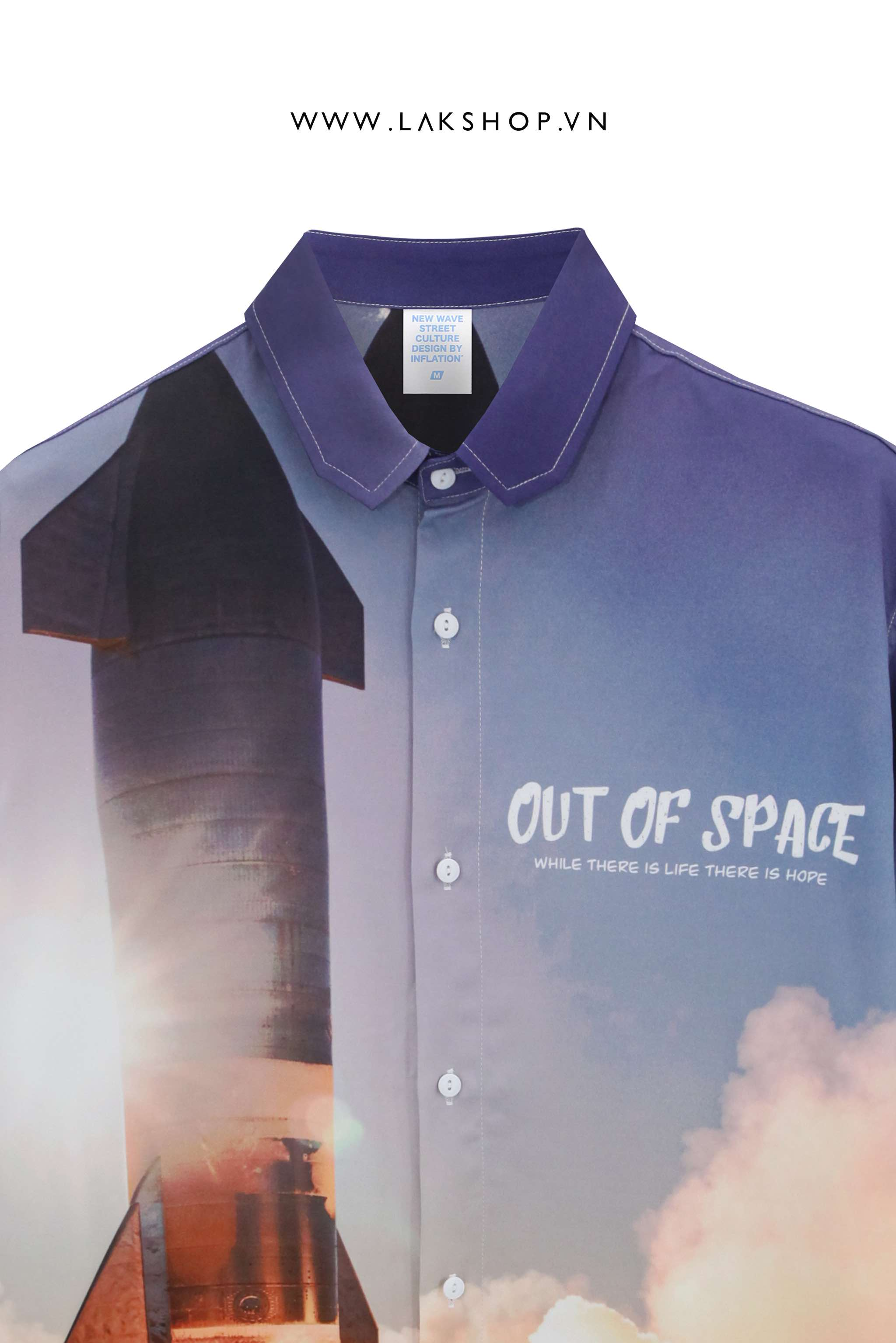 Oversized Out Of Space Rocket Print Short Sleeve Shirt