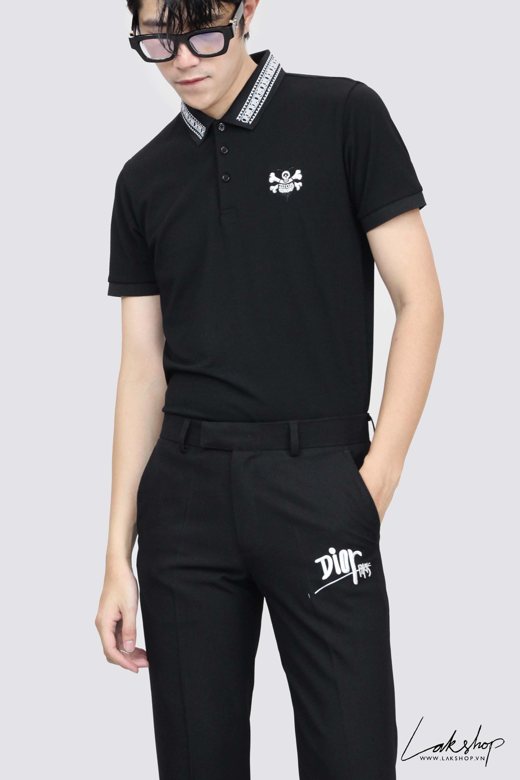 Dior x Stussy Bee Logo Black Polo Shirt cv3