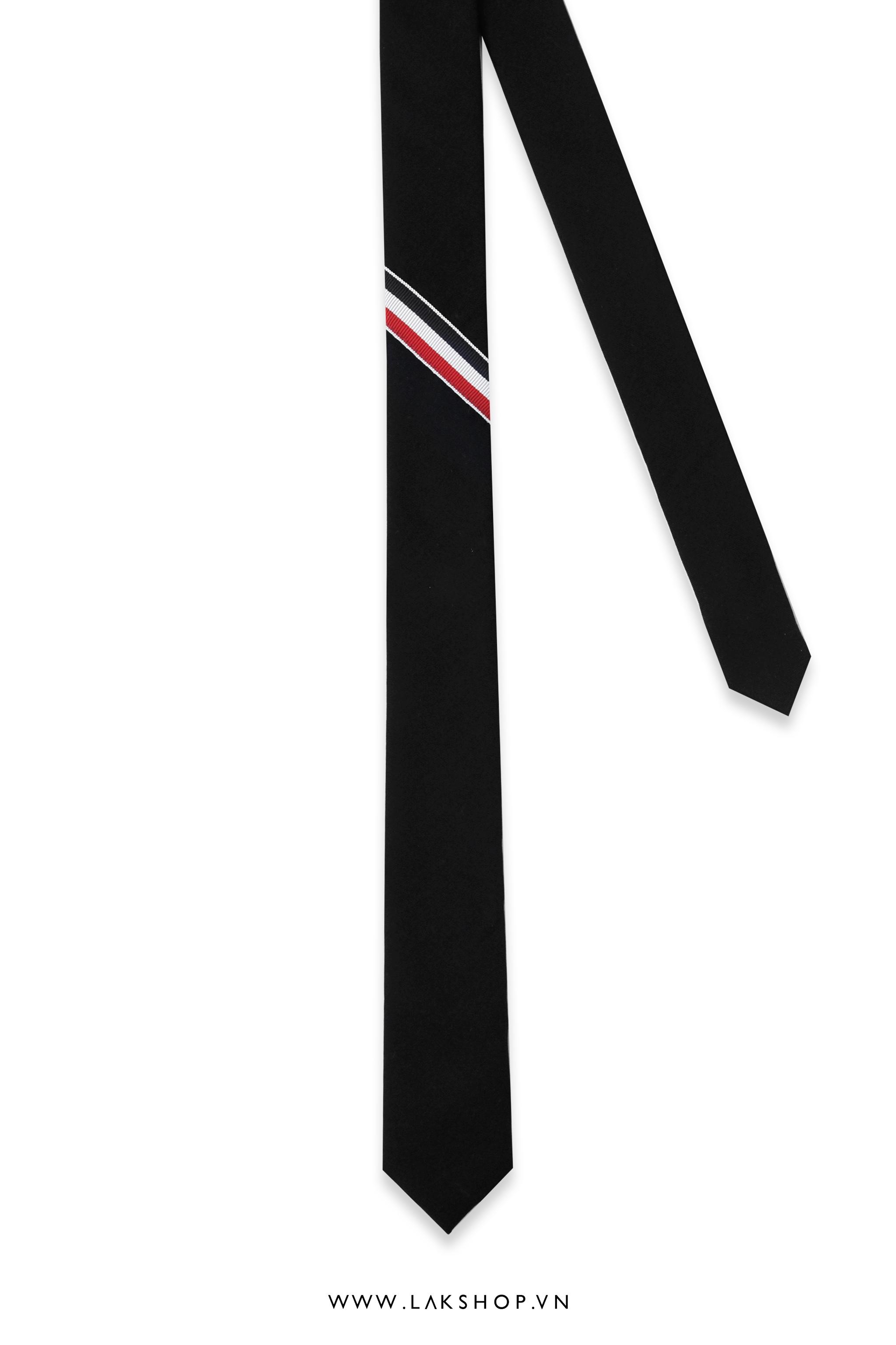 Thom Browne Classic Rwb Stripe Tie in Black
