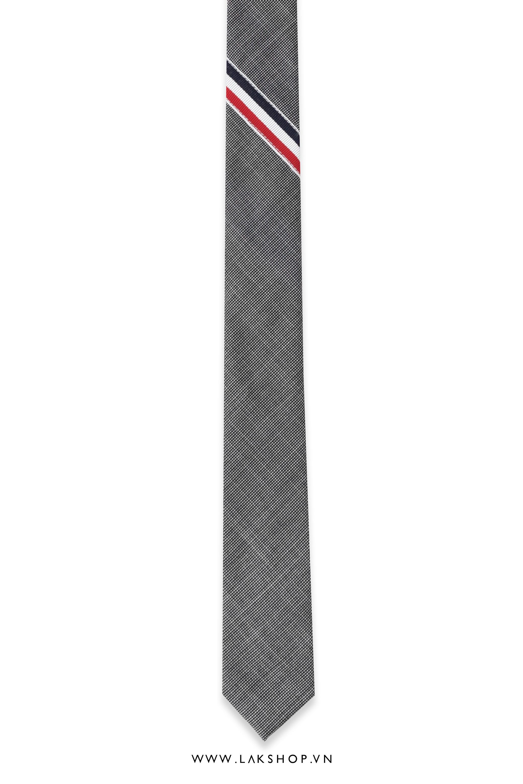 Thom Browne Classic Rwb Stripe Tie in Grey