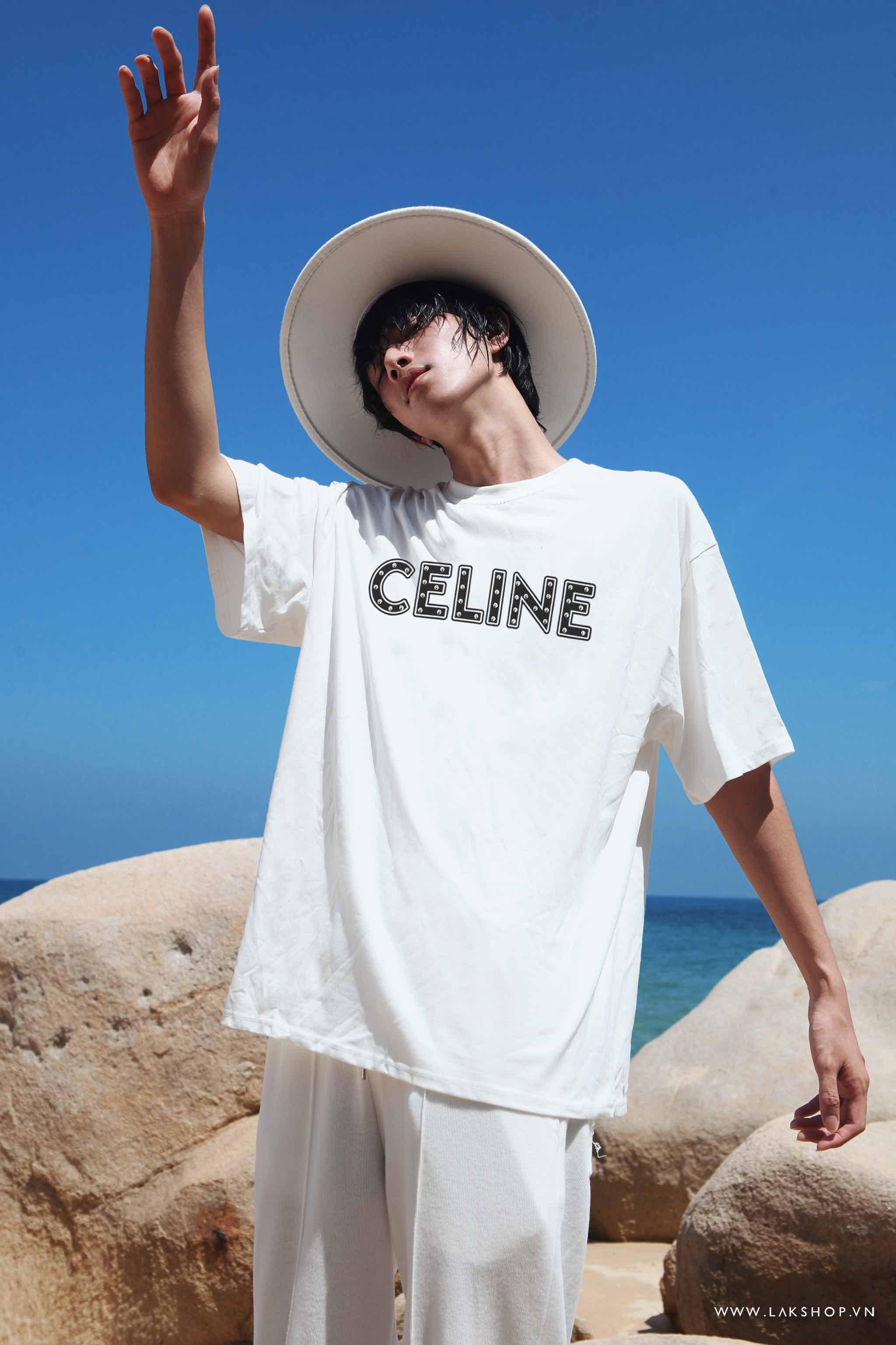 Celine Stud Logo White T-shirt cv3