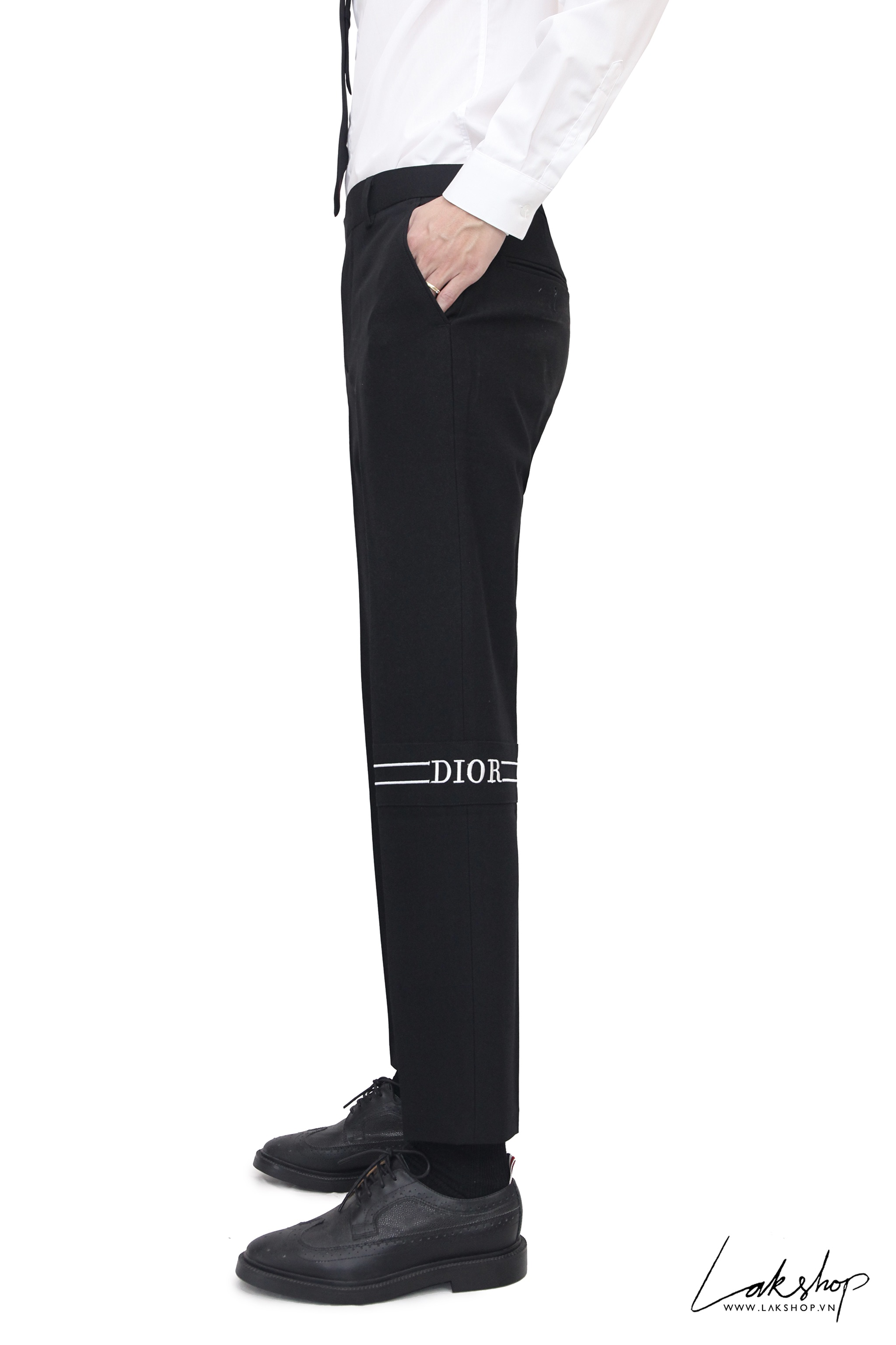 Dior Logo Stripe Knee Black Trouser