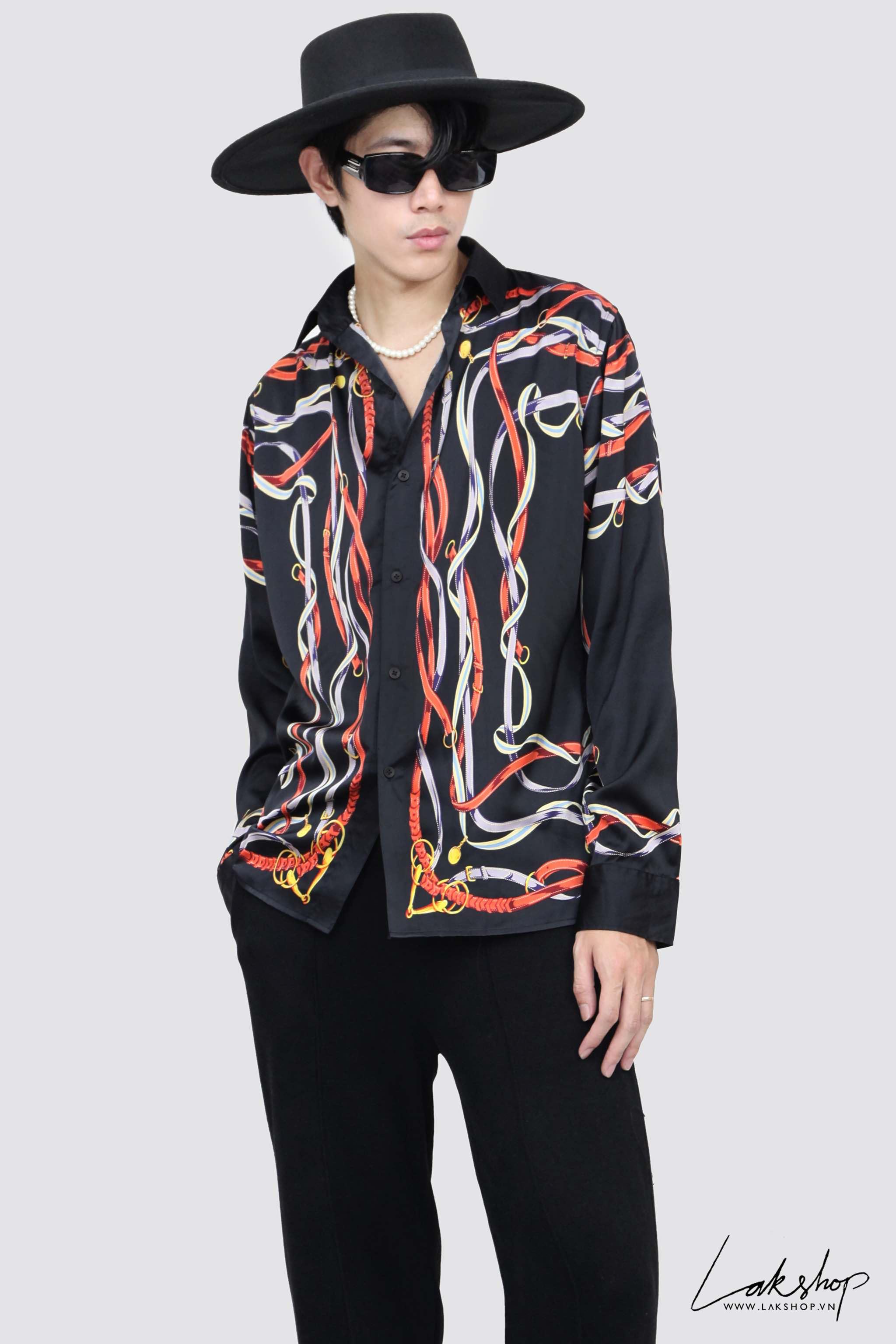 LakStudios Printed Belt Black Slik Shirt cv2