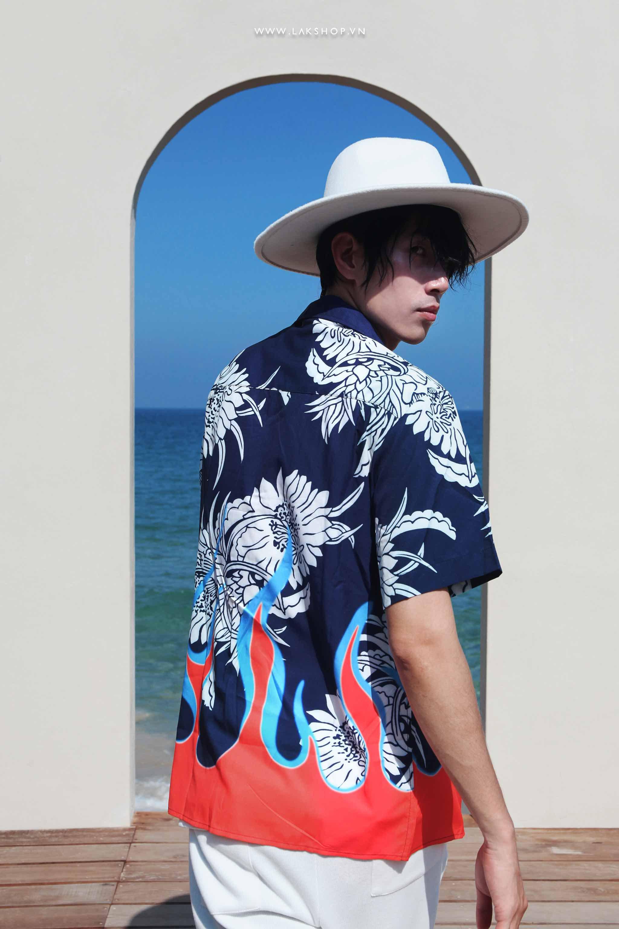 Oversized Flower Flame Short Sleeve Shirt cv3