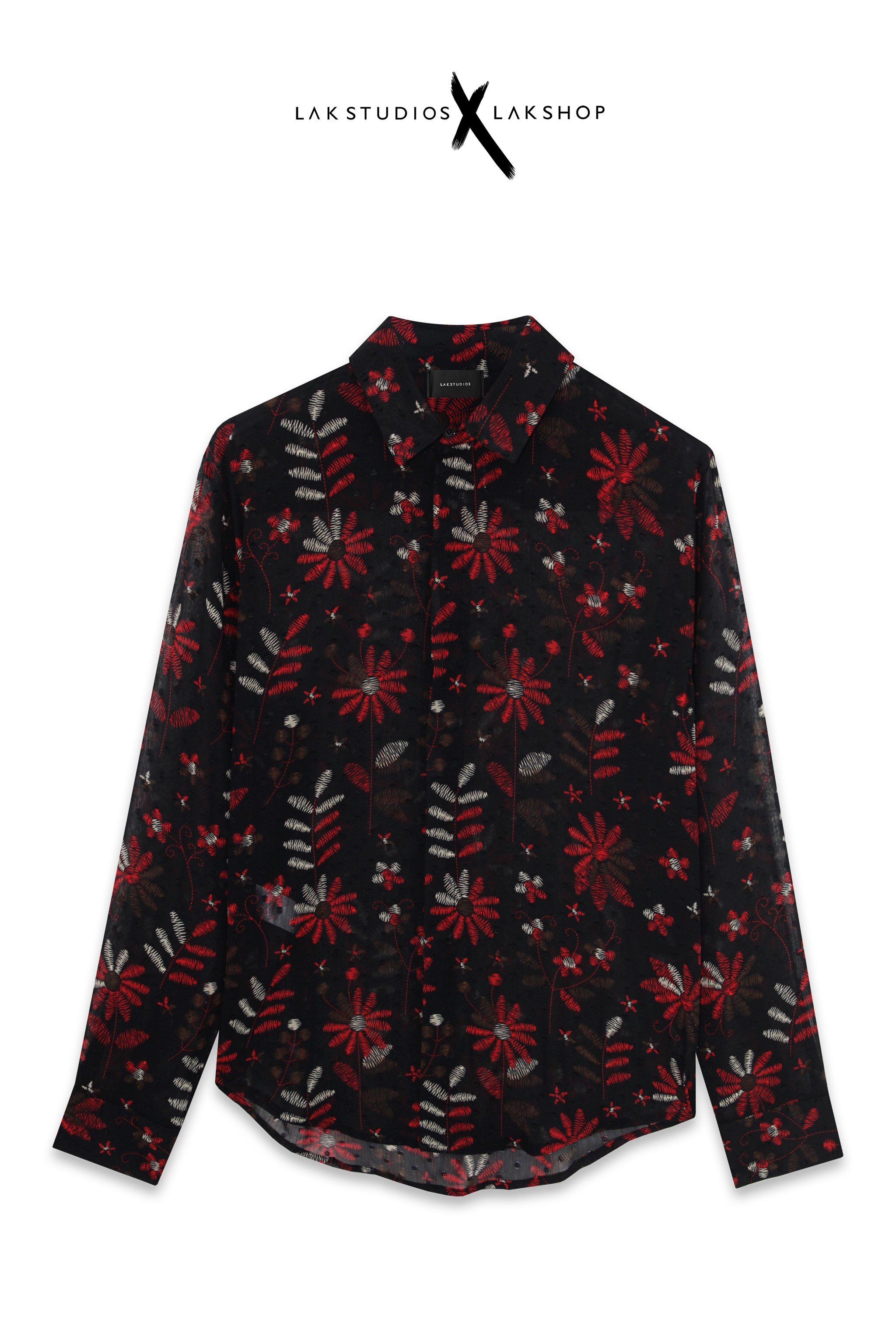 Lak Studios Red Flower Embroidered Shirt