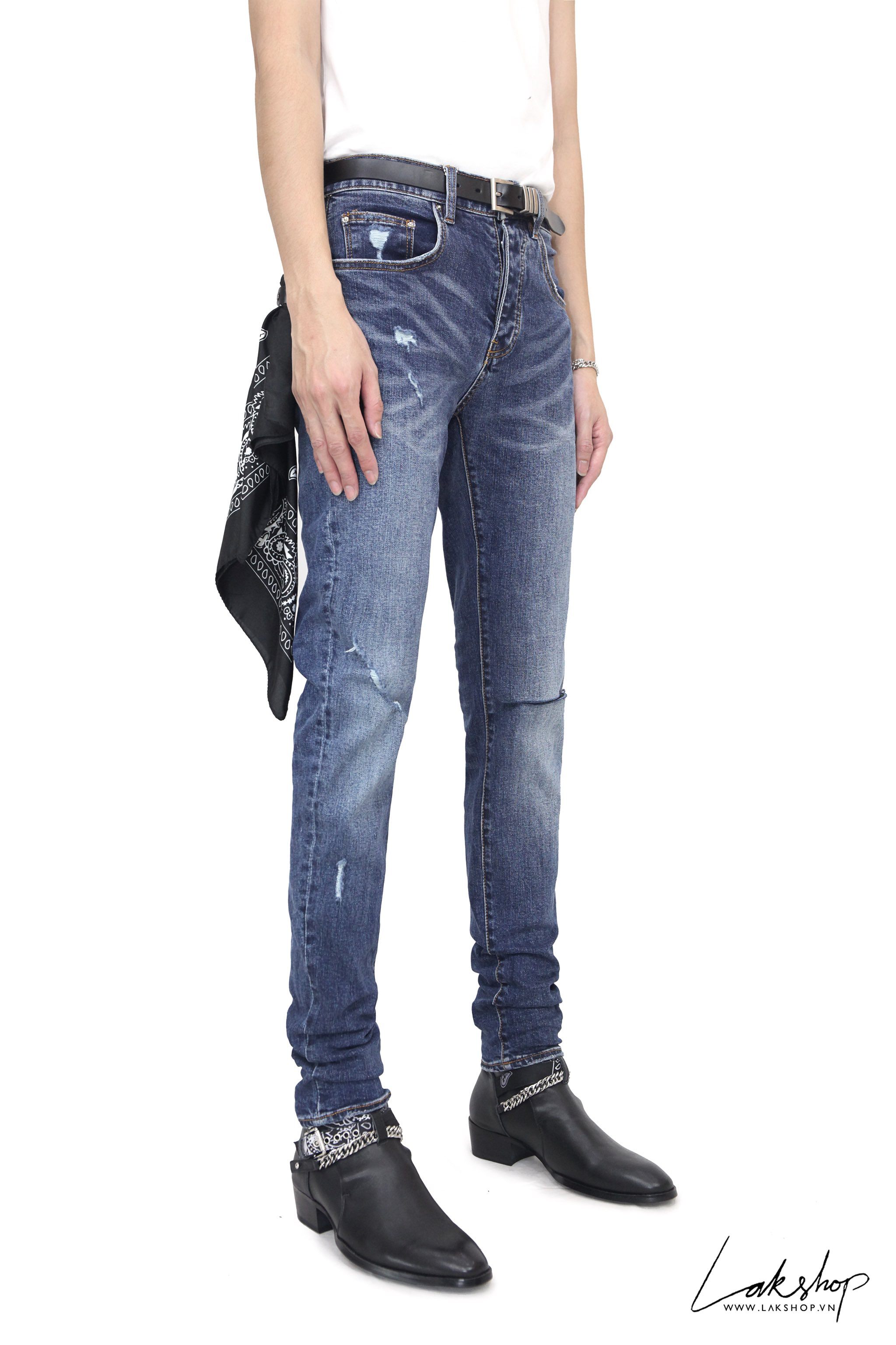 Amiri Blue Denim Slit Knee Jeans