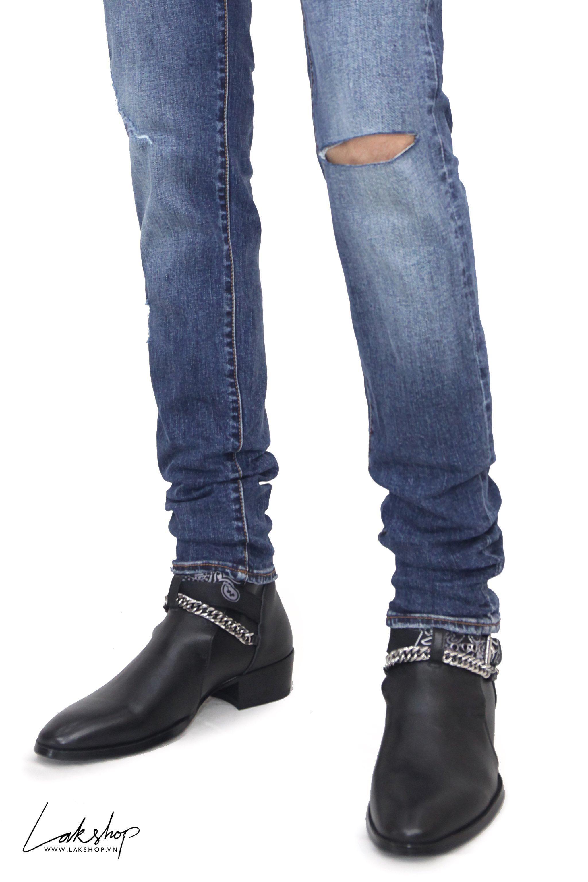 Amiri Blue Denim Slit Knee Jeans cv2