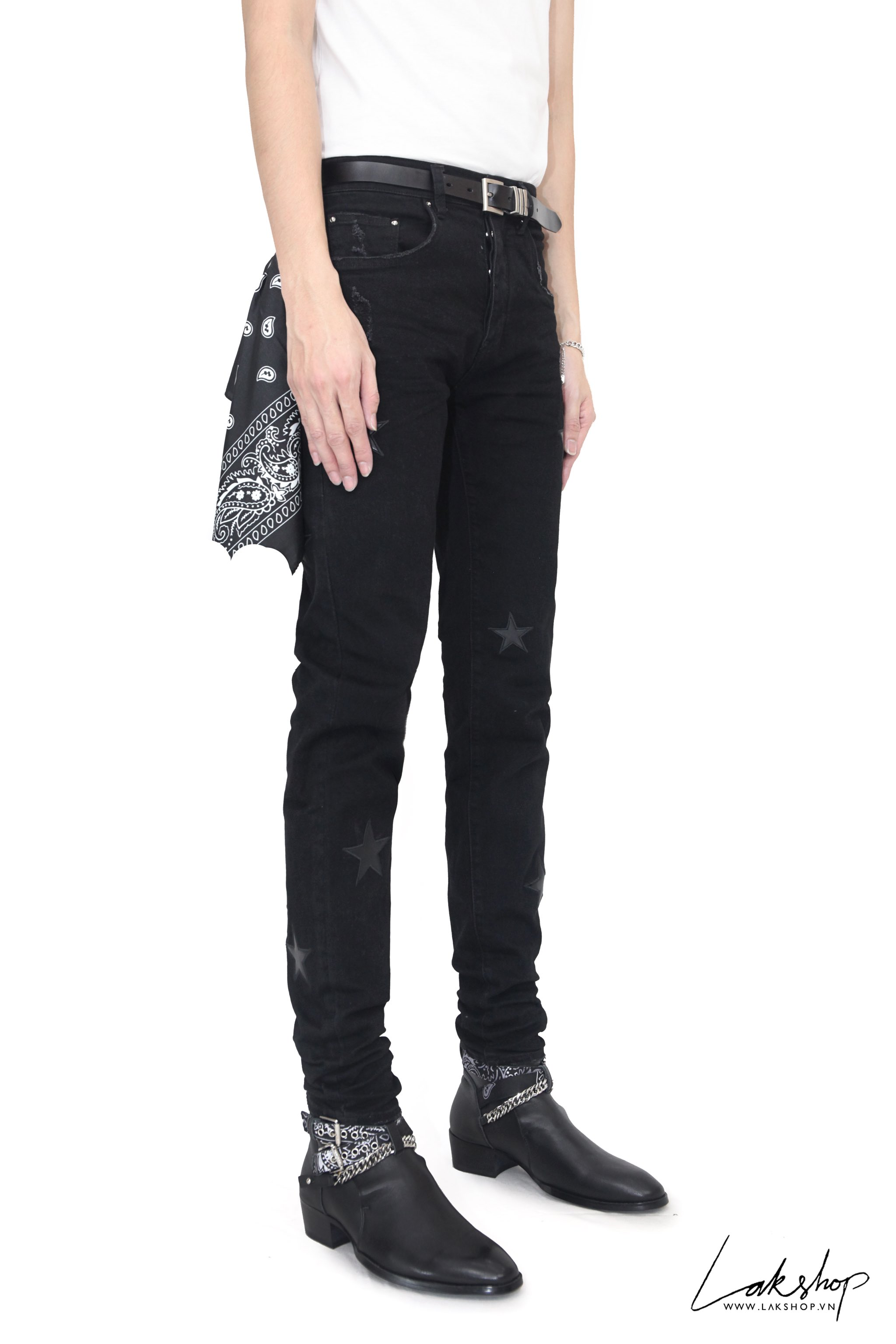 Amiri Black Leather Stars Patch Jeans