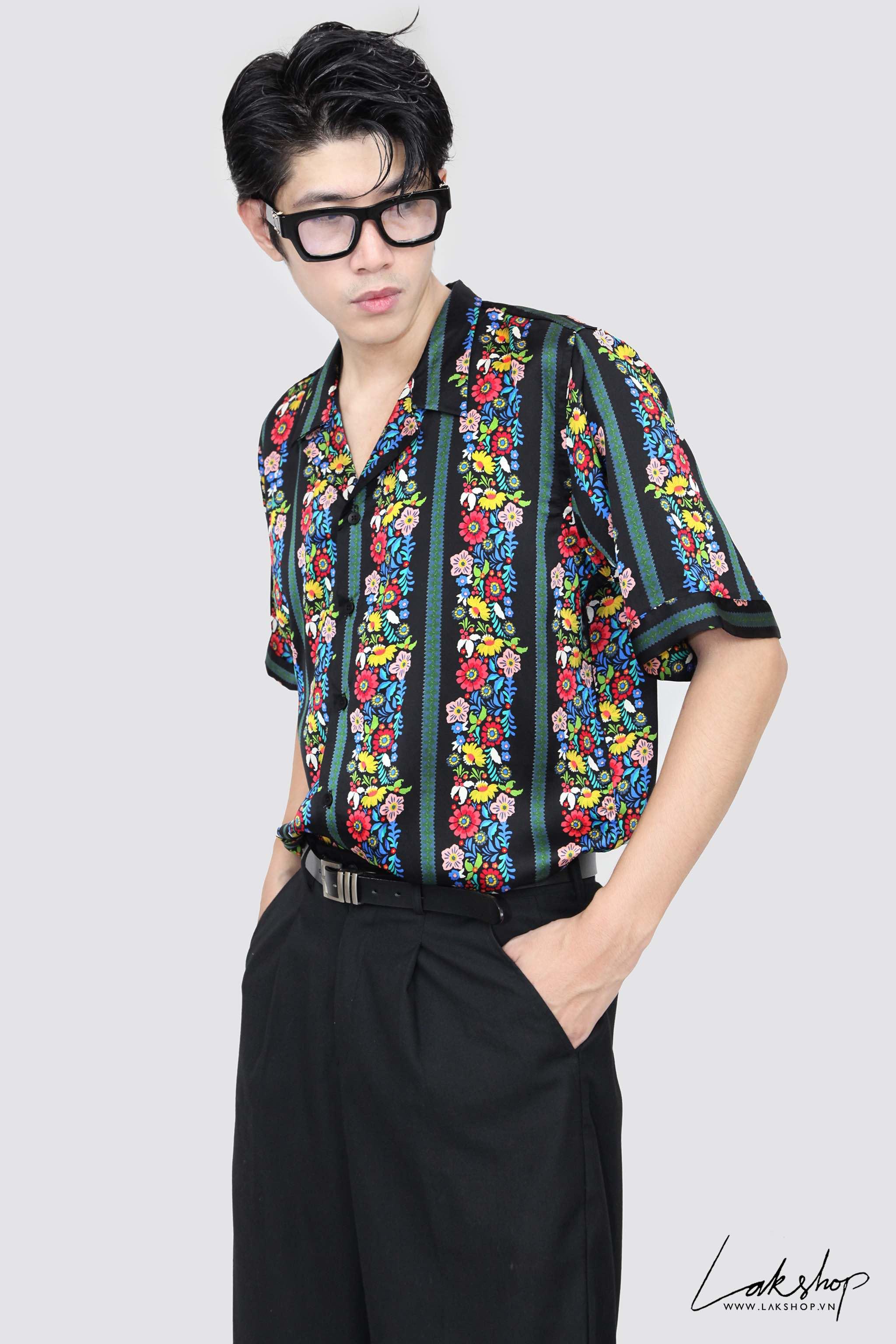 Lak Studios Flower Stripe Silk Shirt cv1