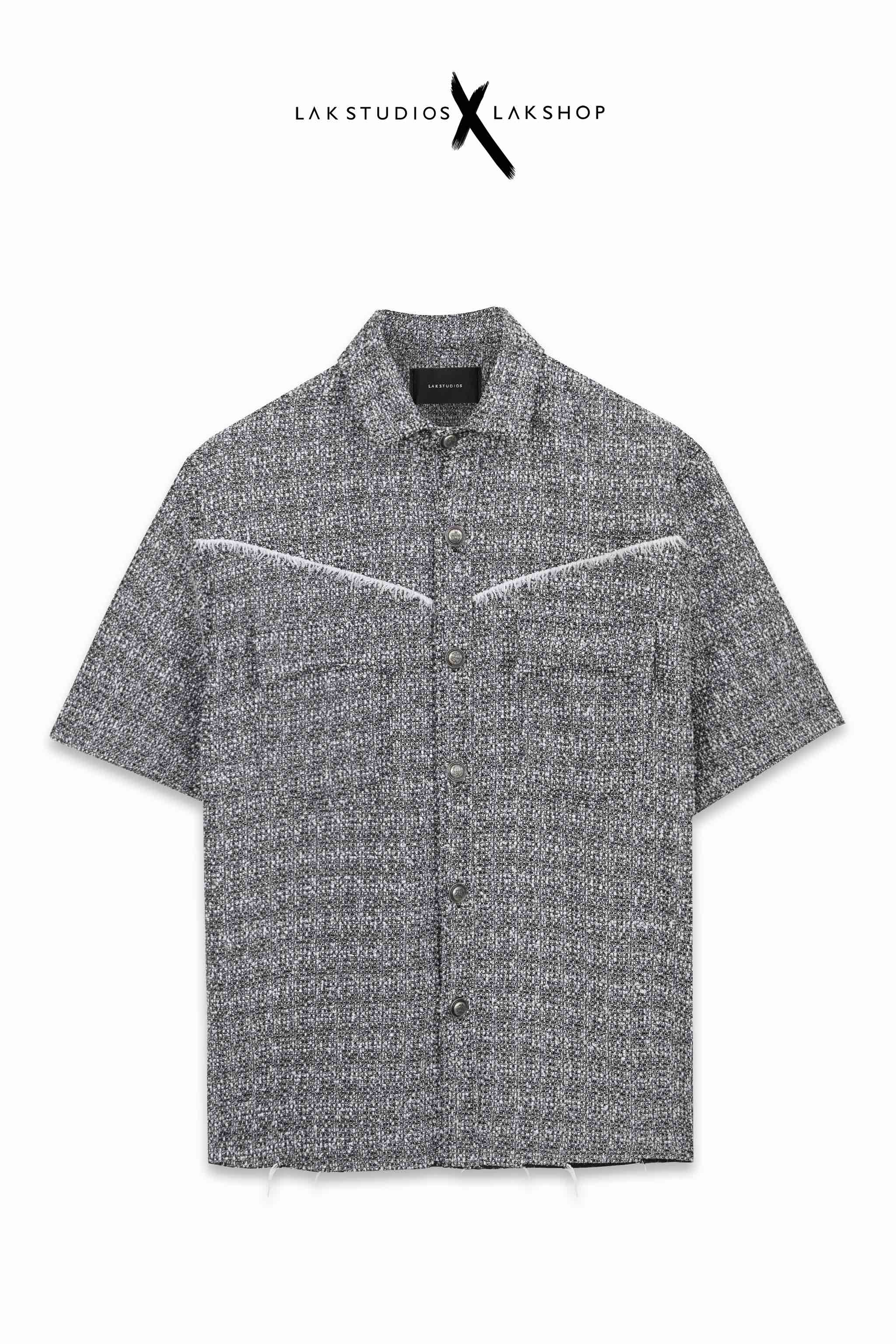 Lak Studios Grey Smoke with Trim Tweed Short Sleeve Shirt