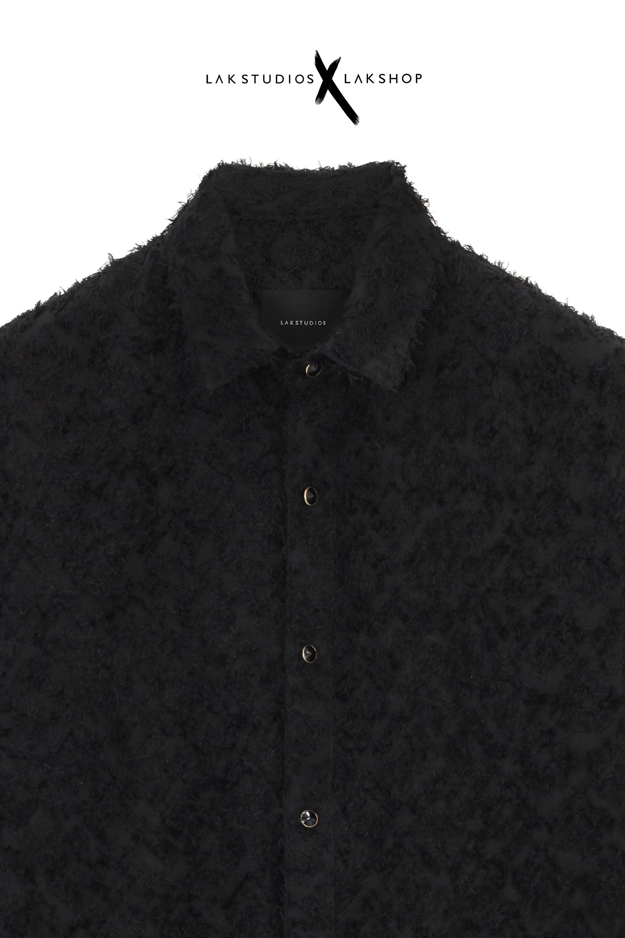 Lak Studios Black Glitter Tweed Short Sleeve Shirt