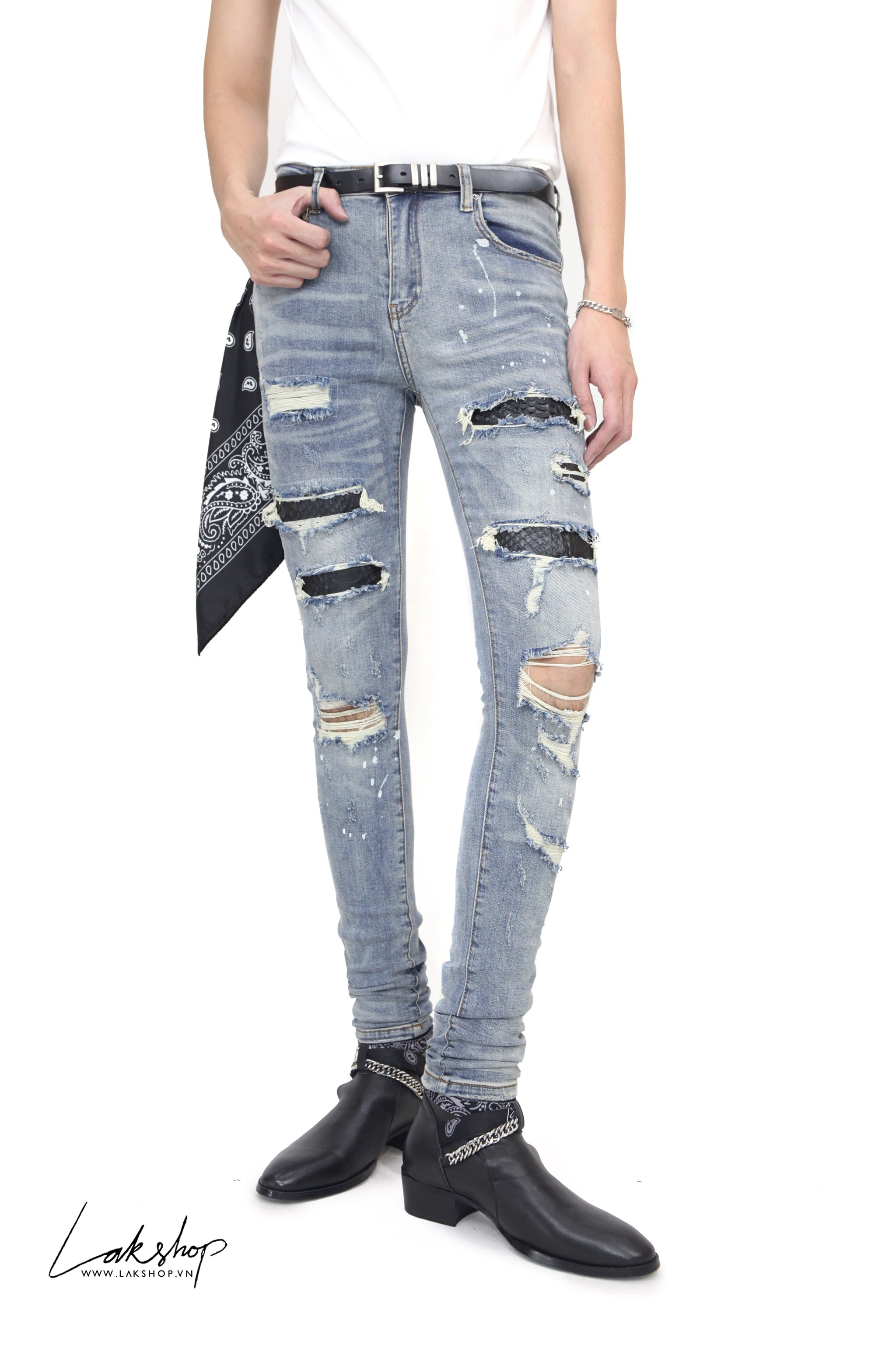 Amiri  Indigo Art Patch Snake Super Skinny Jeans