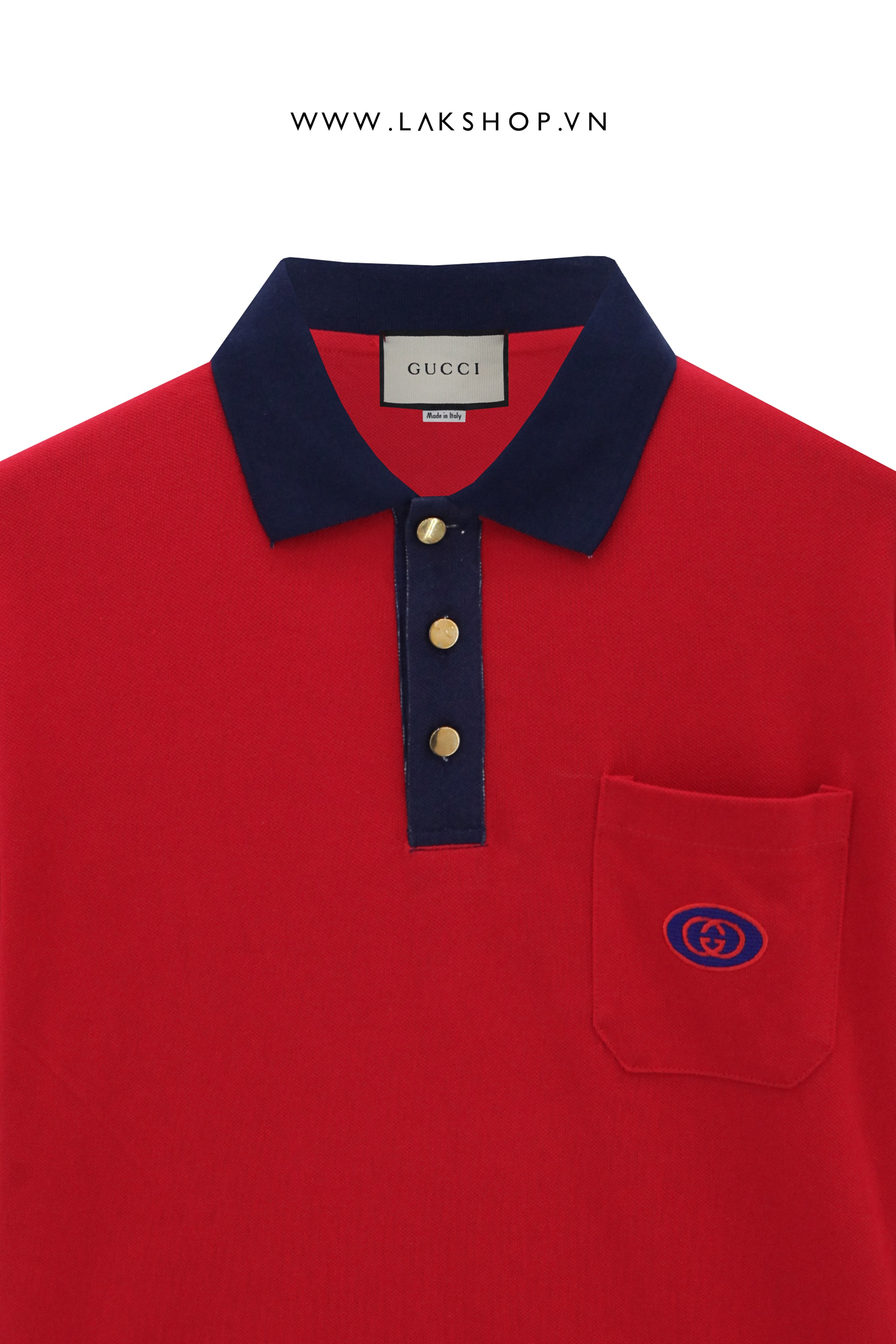 Gucci GG-Embroidered Pique Red Polo Shirt