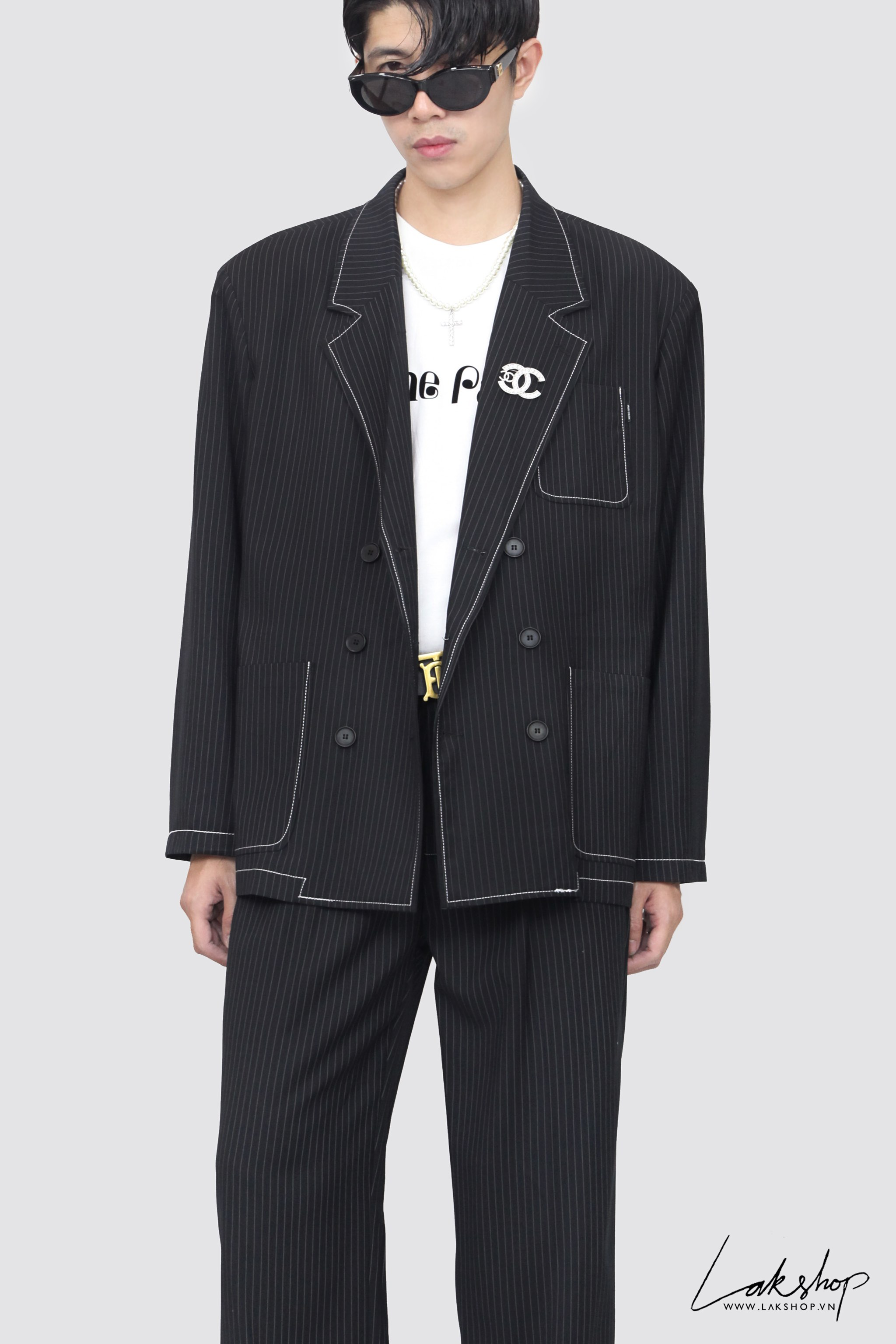 Oversized Black  Striped Blazer ds20