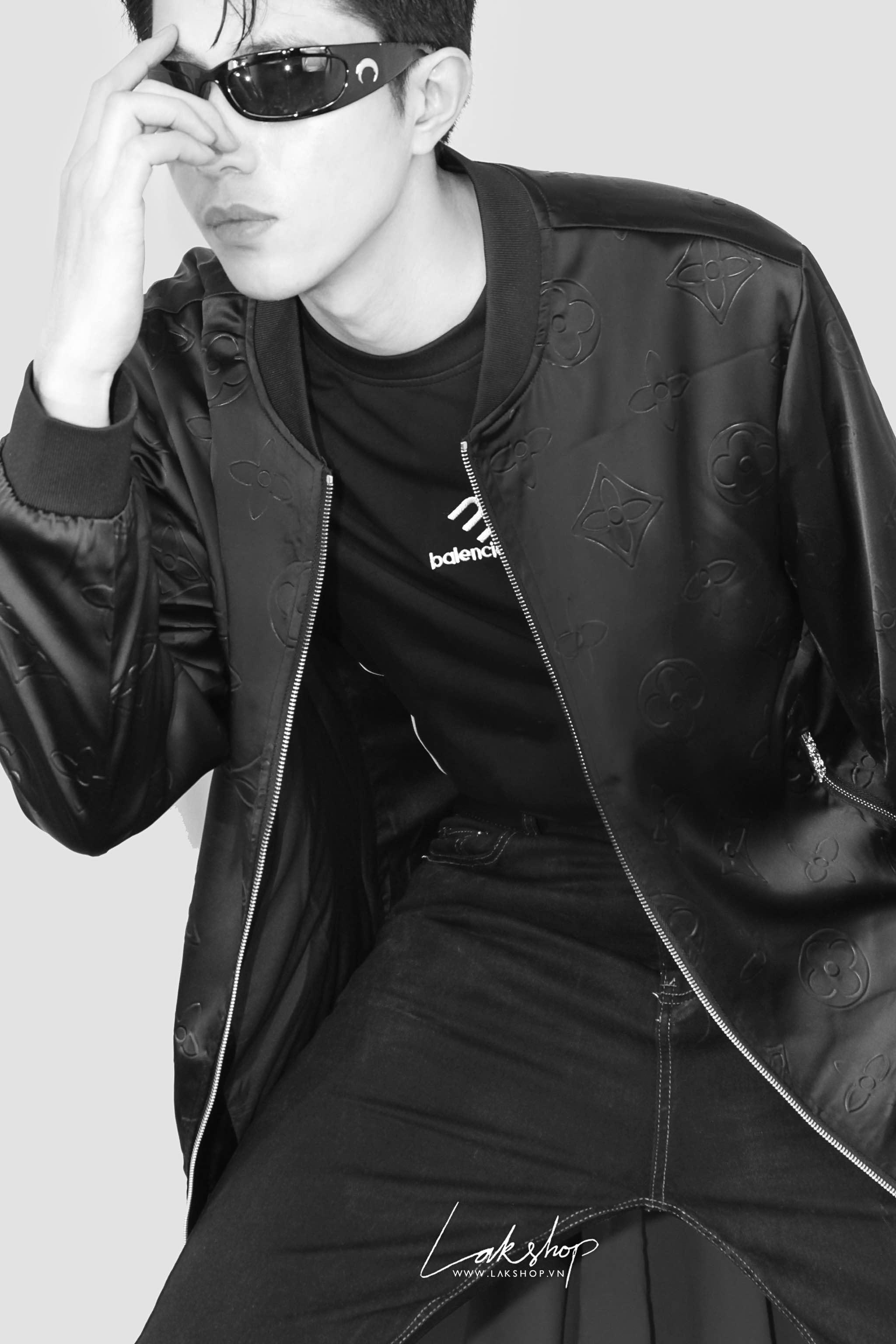 Lak Studios Oversized BW Glitter Tweed Shirt