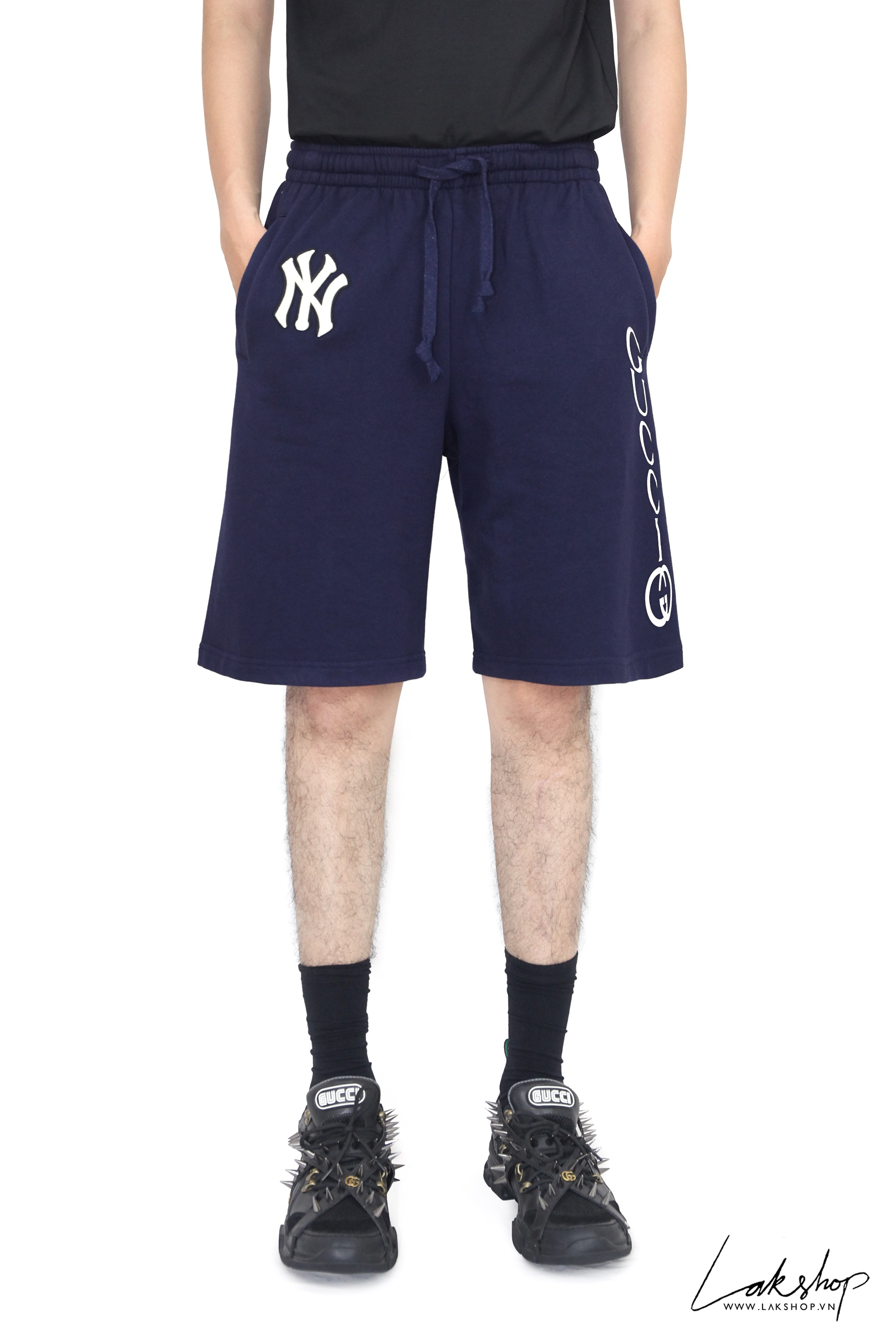 Gucci Navy Ny Yankees Edition Patch Sweat Shorts (Bản đẹp 1:1 form âu)
