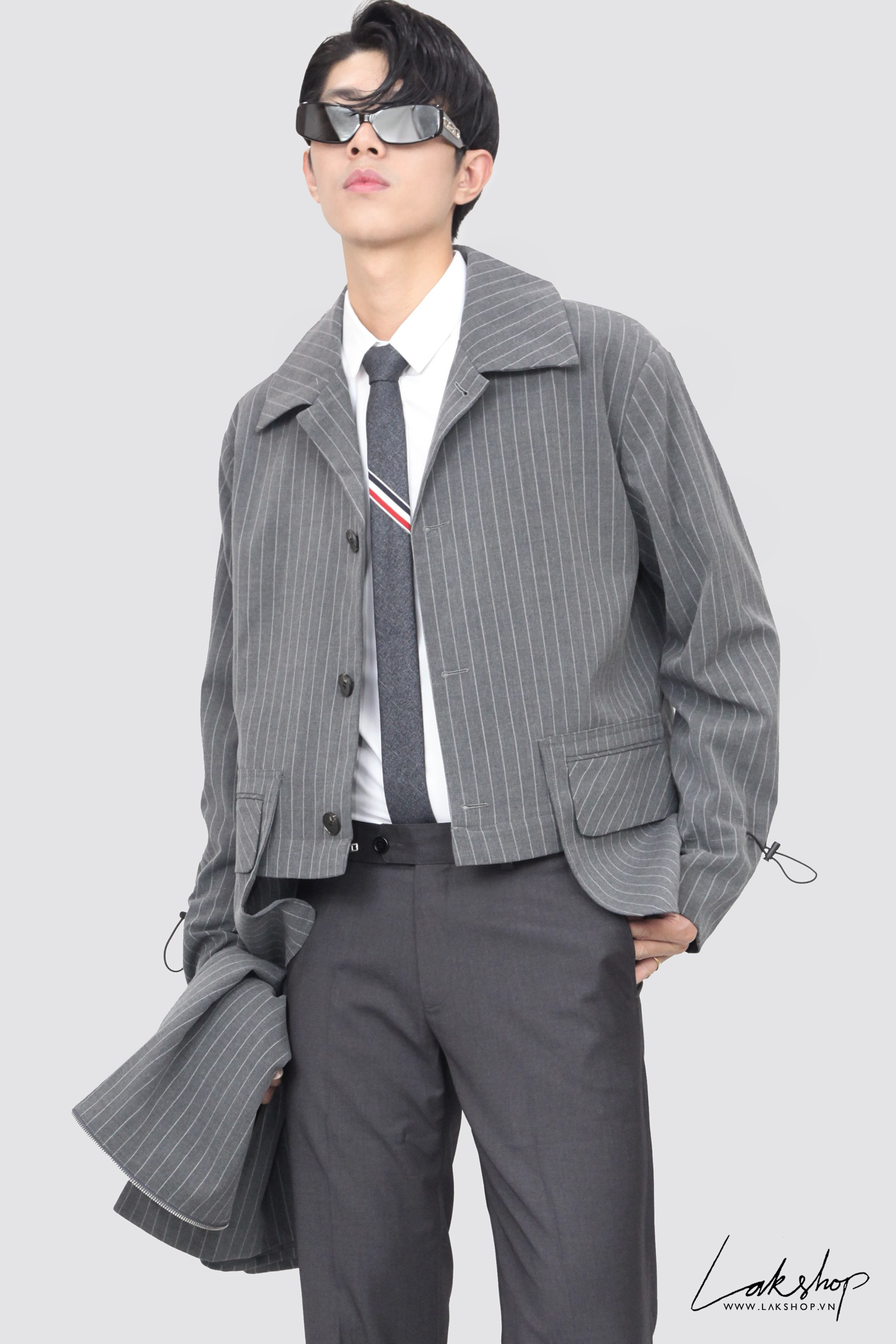 Grey Stripe with Zip Trench Coat 2Style ds20