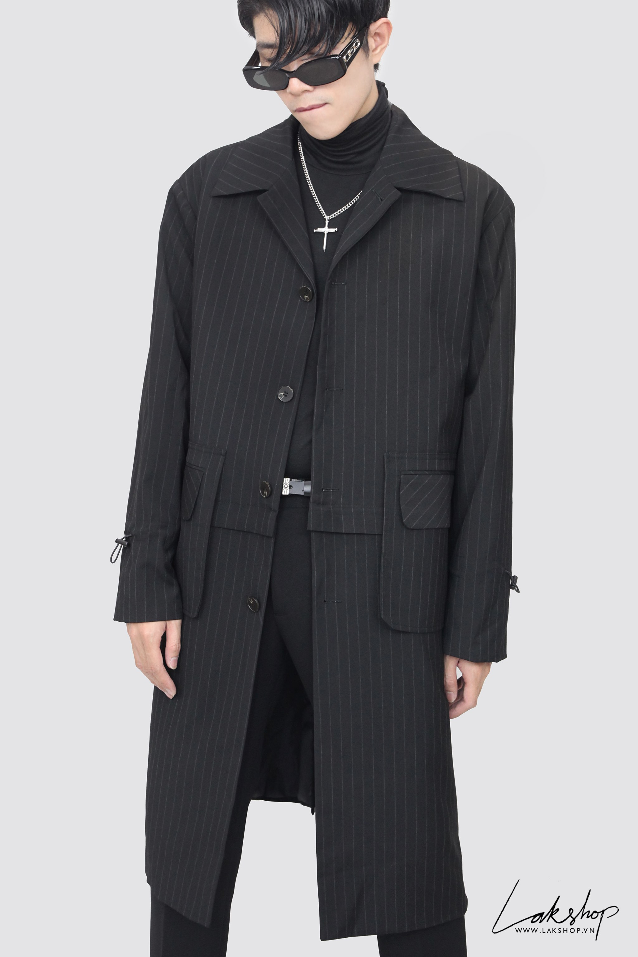 Black Stripe with Zip Trench Coat 2style ds20